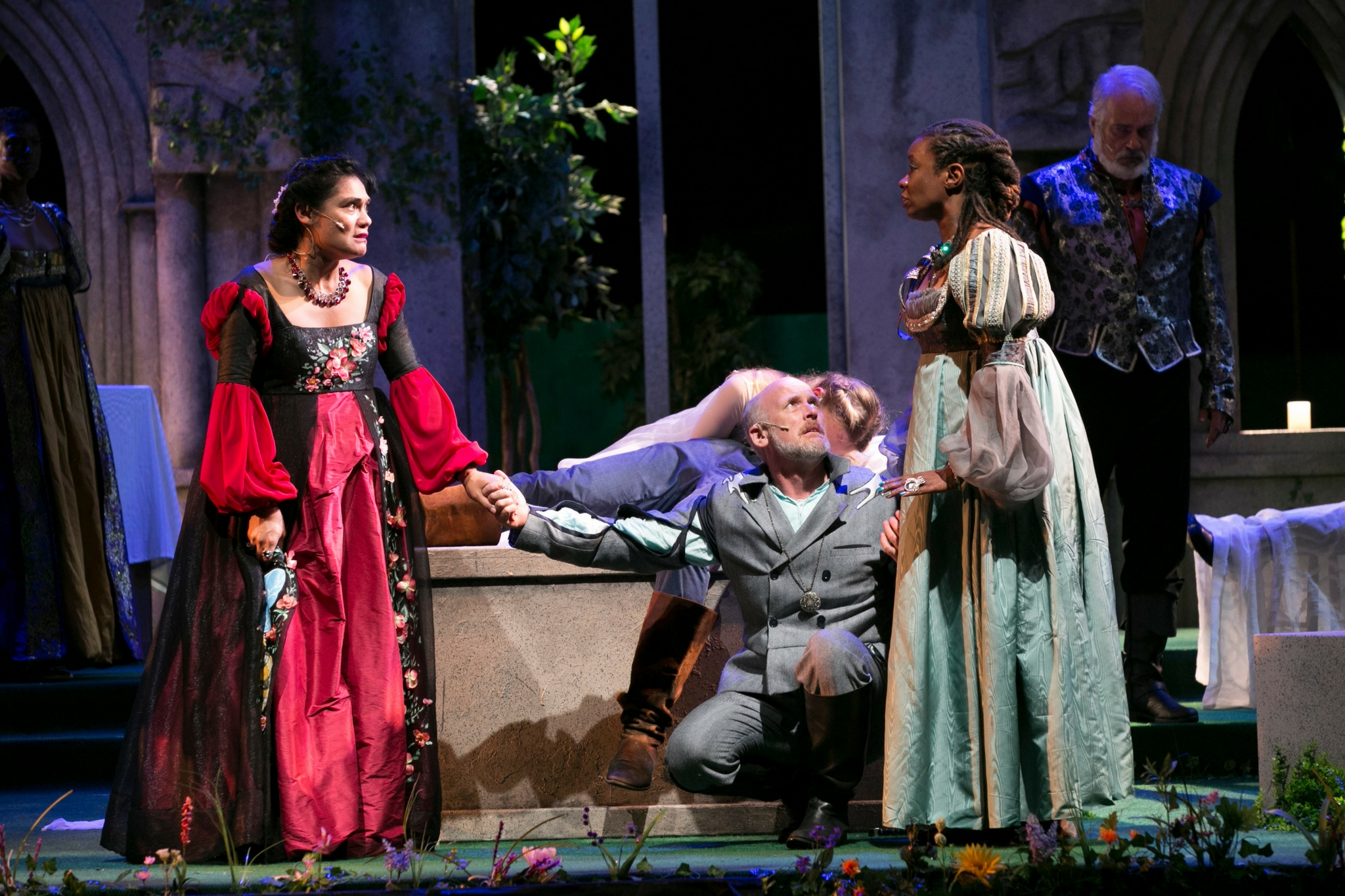 Celeste Oliva (Lady Capulet), Mark Soucy (Lord Montague), and Chris Everett (Lady Montague) in Romeo & Juliet, Shakespeare on the Common 2017-Photo by Evgenia Eliseeva