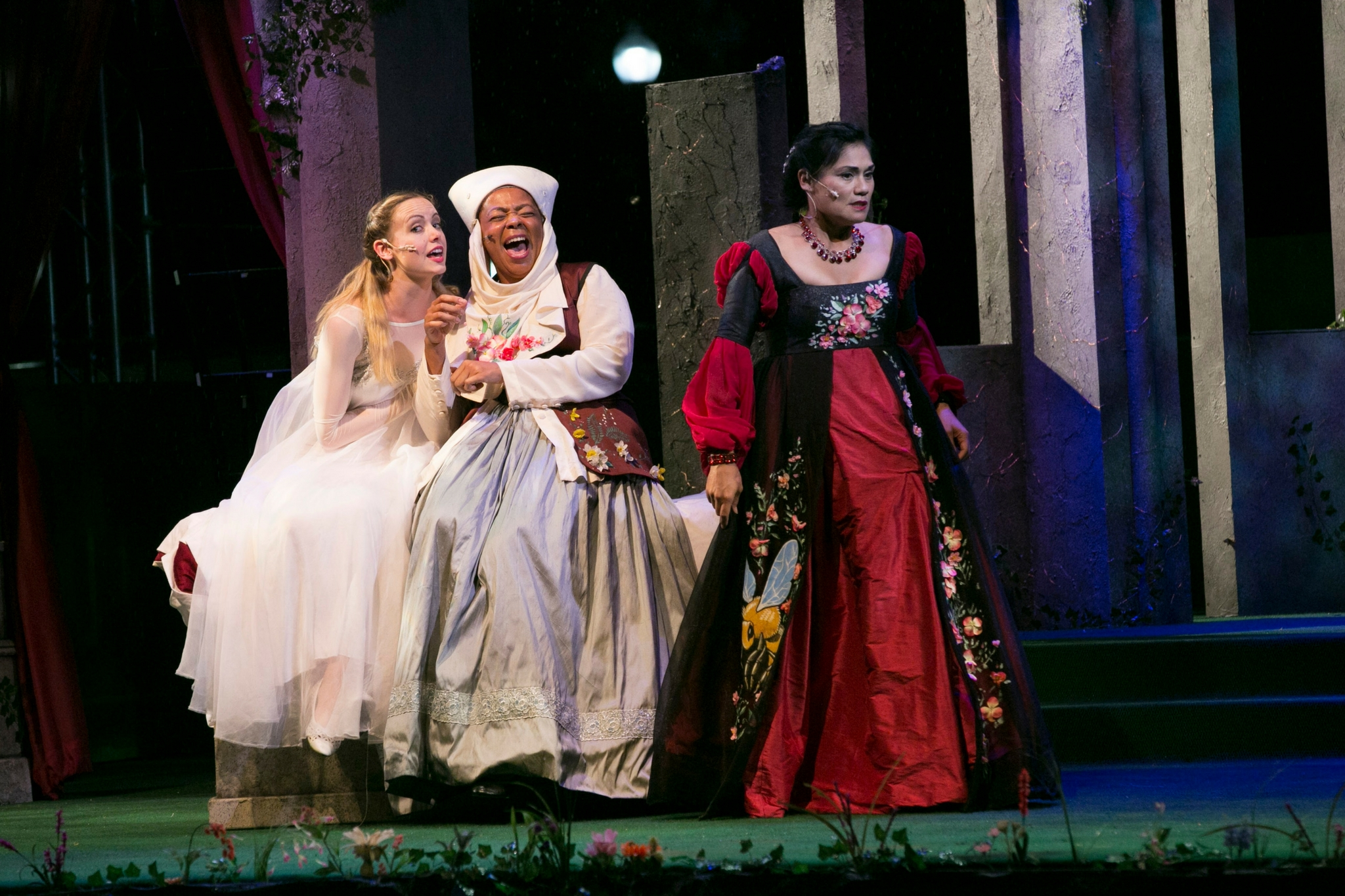 Gracyn Mix (Juliet), Ramona Lisa Alexander (Nurse), and Celeste Oliva (Lady Capulet)in Romeo & Juliet, Shakespeare on the Common 2017-Photo by Evgenia Eliseeva