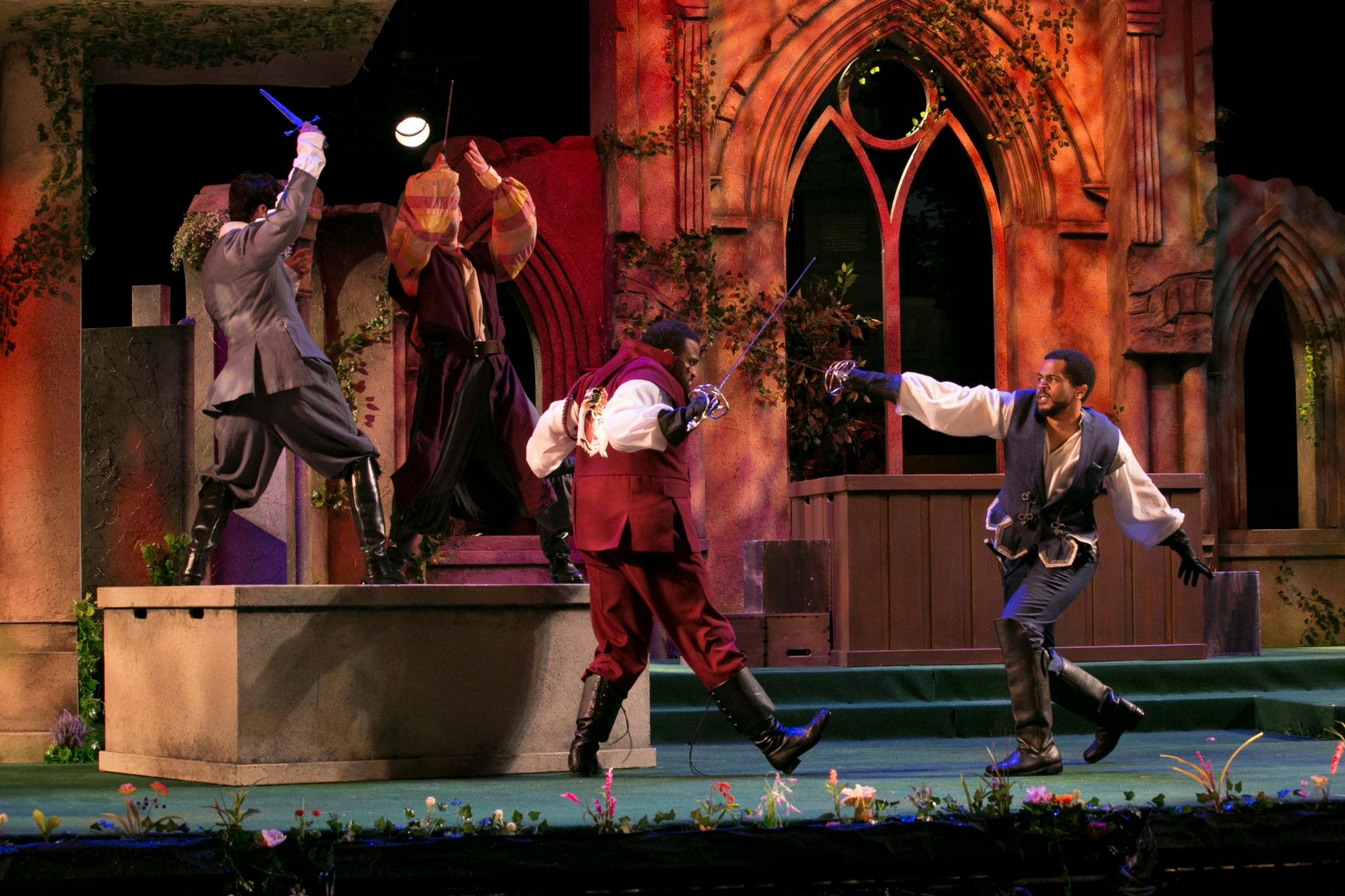 Kai Tshikosi (Tybalt) and Brandon G. Green (Benvolio) in Romeo & Juliet, Shakespeare on the Common 2017-Photo by Evgenia Eliseeva