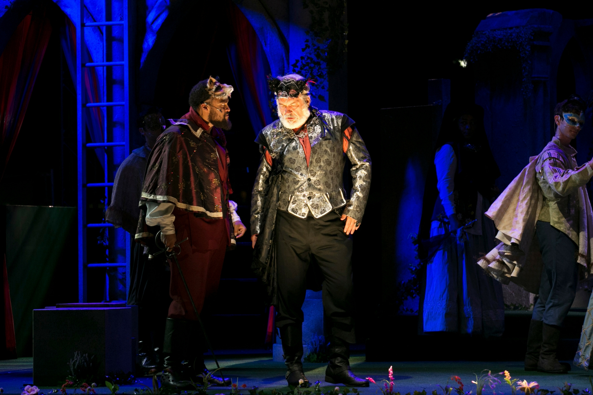 Kai Tshikosi (Tybalt) and Fred Sullivan, Jr. (Lord Capulet) in Romeo & Juliet, Shakespeare on the Common 2017-Photo by Evgenia Eliseeva