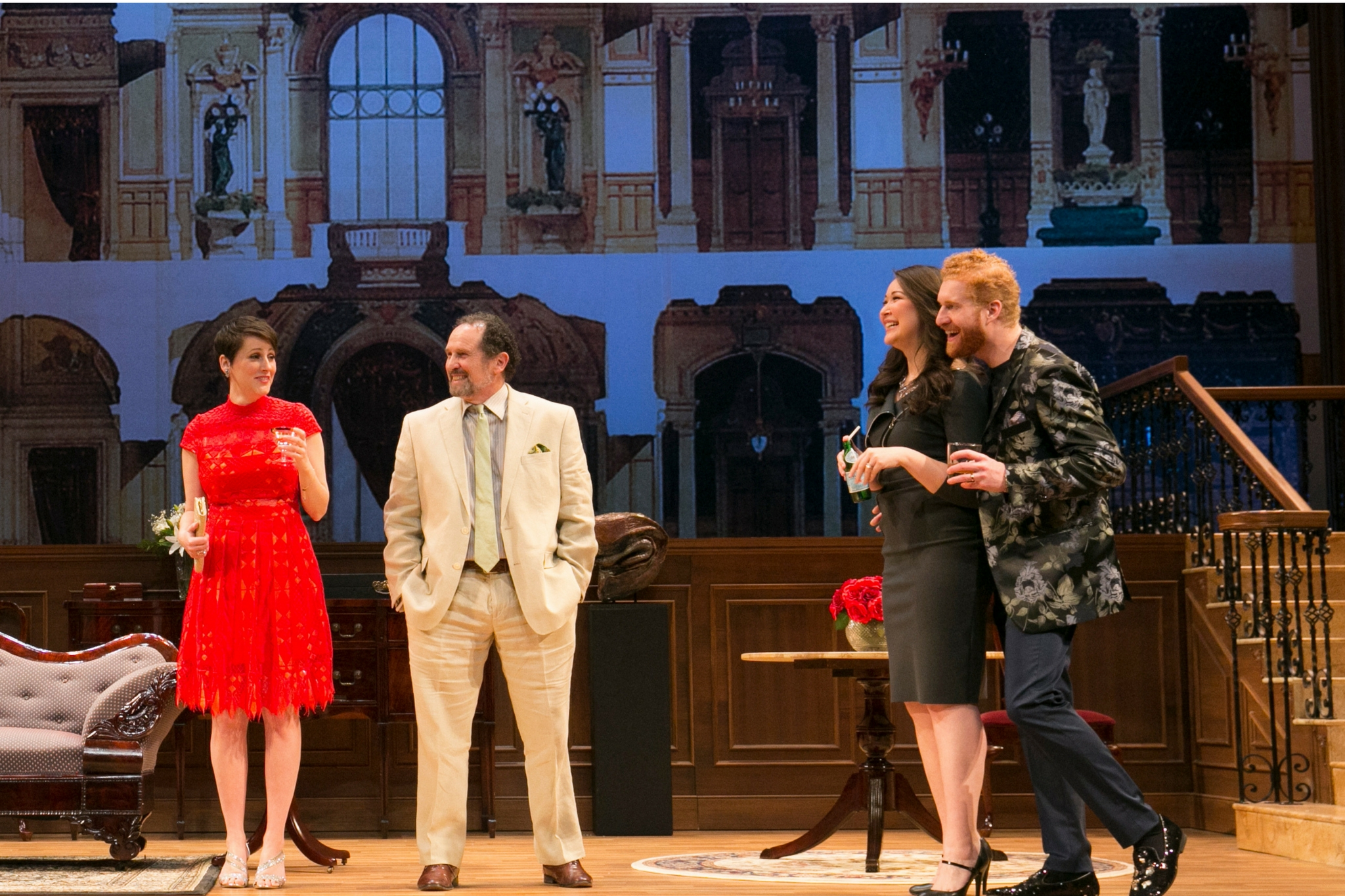 Amanda Collins (Flinty McGee), Jeremiah Kissel (Jeffrey Bernstein), Jordan Clark (Penny Nercessian), and Ed Hoopman (Sid Nercessian) in Old Money, 2017-Photo by Evgenia Eliseeva