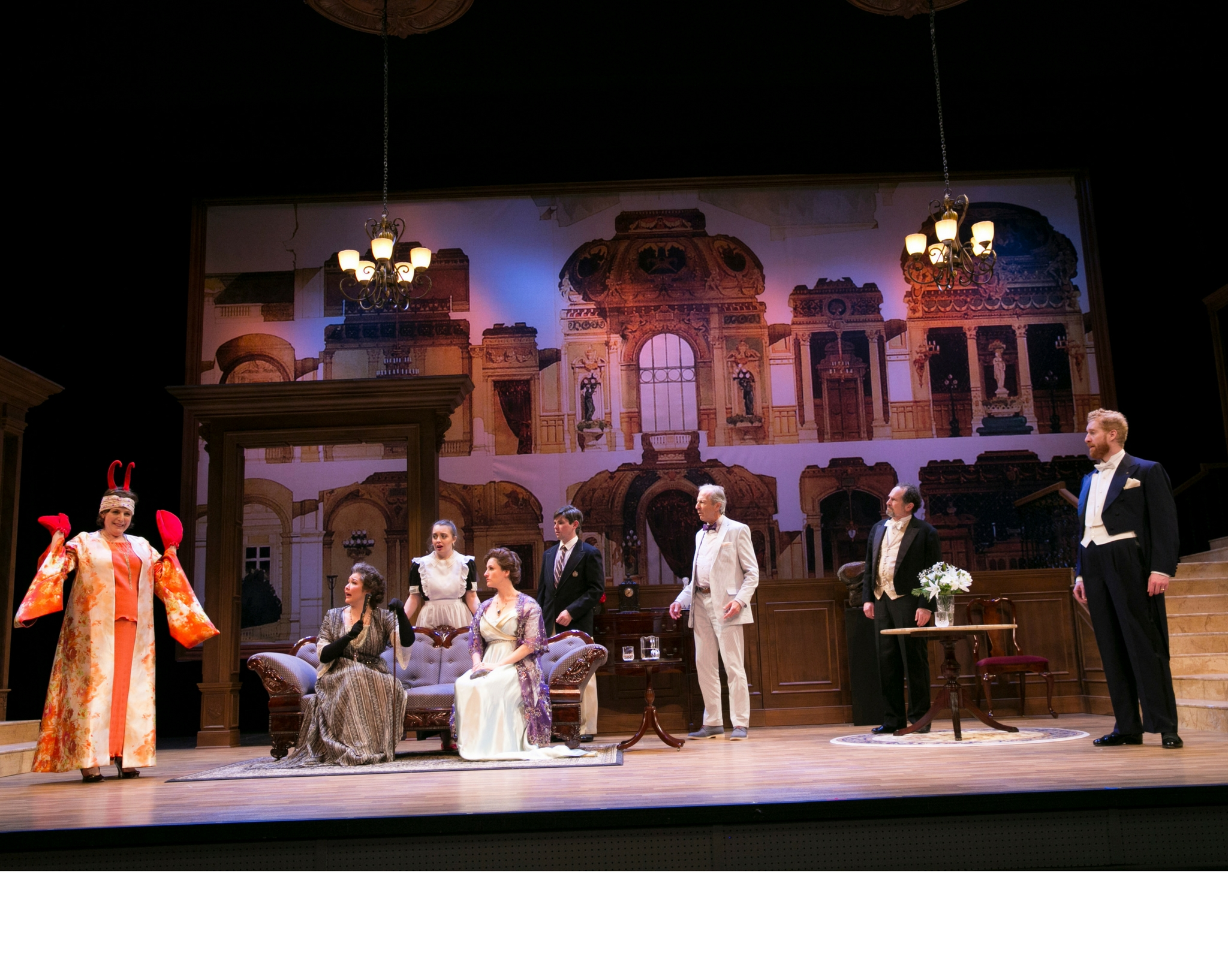 Veronica Anastasio Wiseman (Sally Webster), Jordan Clark (Betina Brevoort), Josephine Moshiri Elwood (Mary Gallagher), Amanda Collins (Florence DeRoot), Eliott Purcell (Tobias Vivian Pfeiffer, Jr.), Will Lyman (Schuyler Lynch), Jeremiah Kissel (Arnold Strauss), and Ed Hoopman (Tobias Vivian Pfeiffer) in Old Money, 2017-Photo by Evgenia Eliseeva