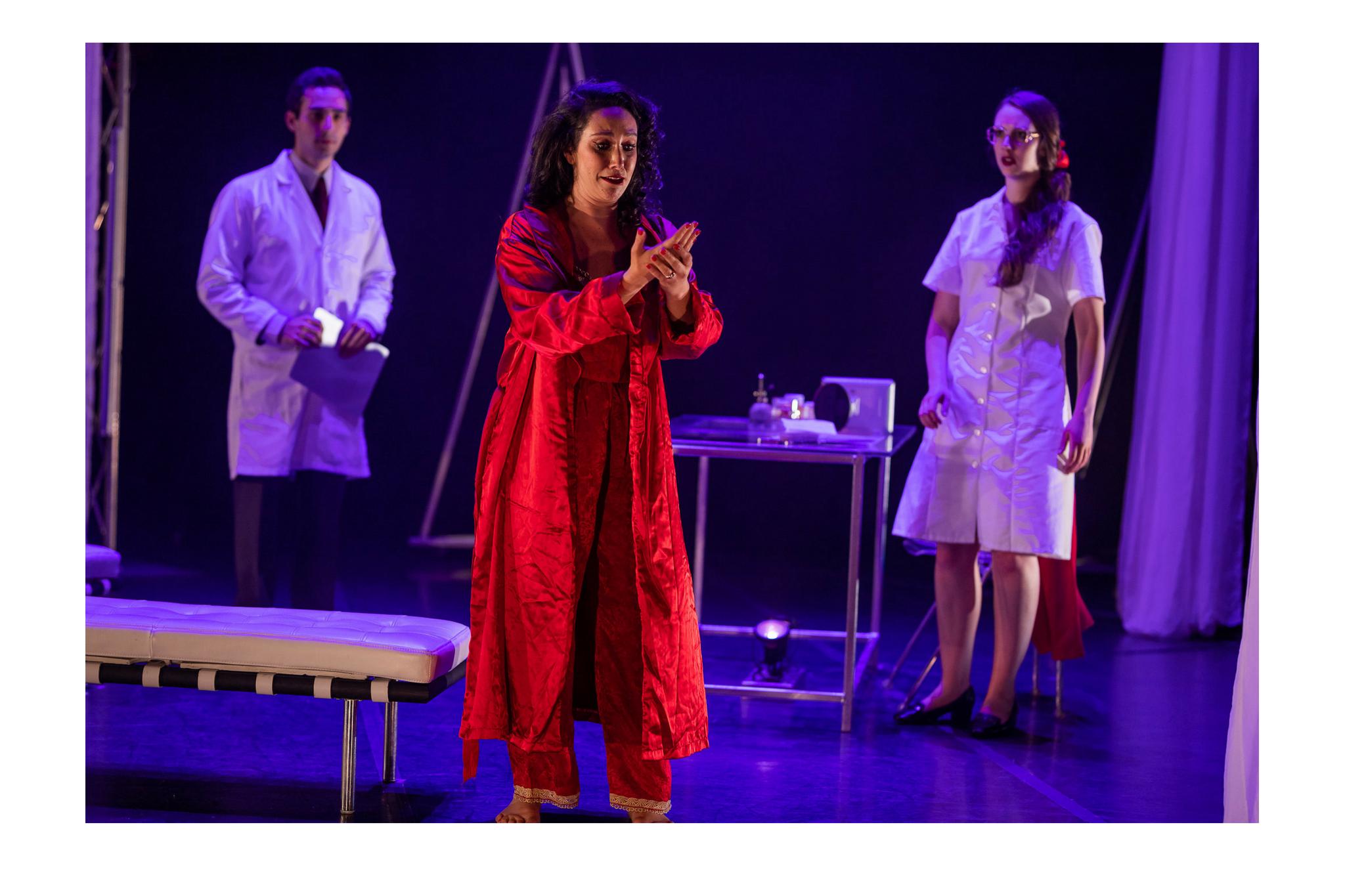 Felix Teich (Doctor), Stefanie Resnick (Lady Macbeth), and Bailie de Lacy (Gentlewoman) in Macbeth, CSC2, 2018-Photo by Nile Hawver