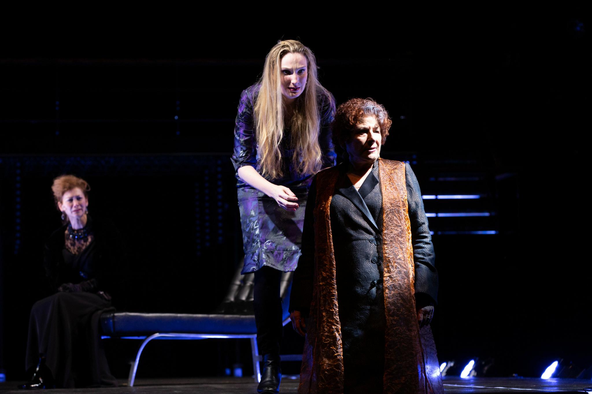 Sarah Sinclair (Duchess of York), Deb Martin (Queen Elizabeth), and Bobbie Steinbach (Queen Margaret) in Richard III, Shakespeare on the Common 2018-Photo by Evgenia Eliseeva
