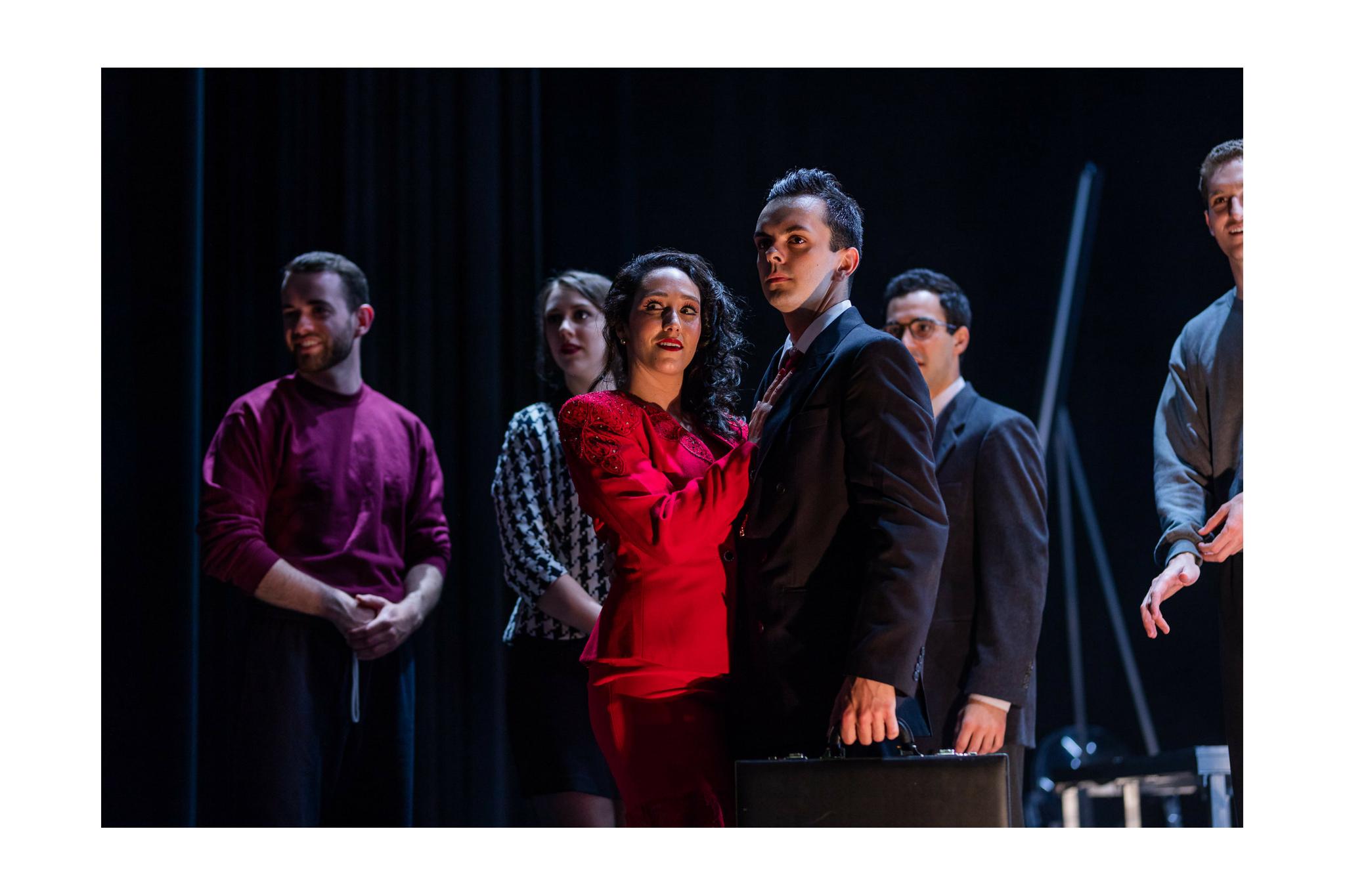 Kody Grasset (Lenox), Bailie de Lacy (Lady Macduff), Stefanie Resnick (Lady Macbeth), Billy Saunders, Jr. (Macbeth), Felix Teich (Donalbain), and Ross Barron (Ross) in Macbeth, CSC2, 2018-Photo by Nile Hawver