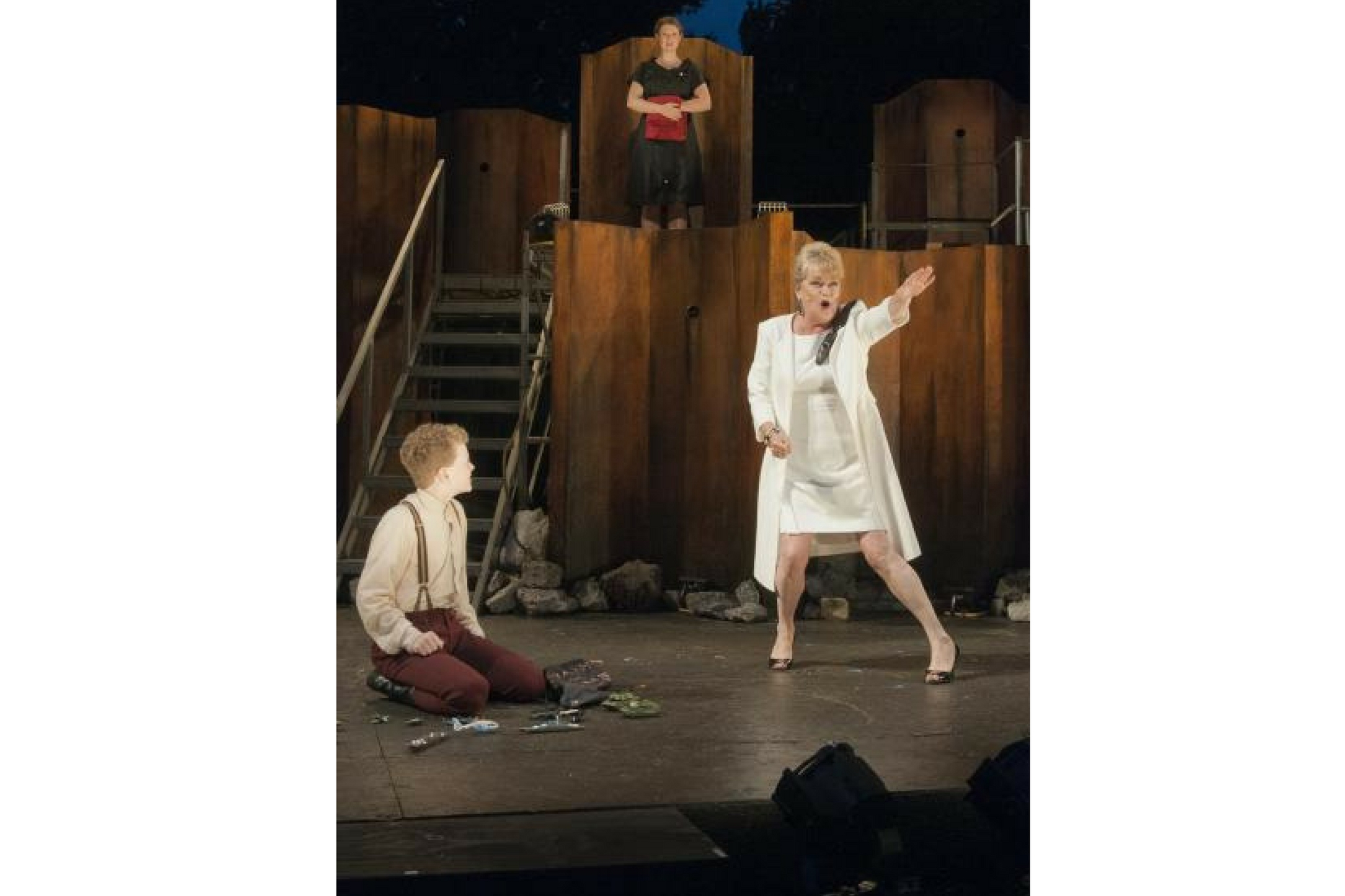 Karen MacDonald (Volumnia) in Coriolanus, Shakespeare on the Common 2012-Photo by Andrew Brilliant