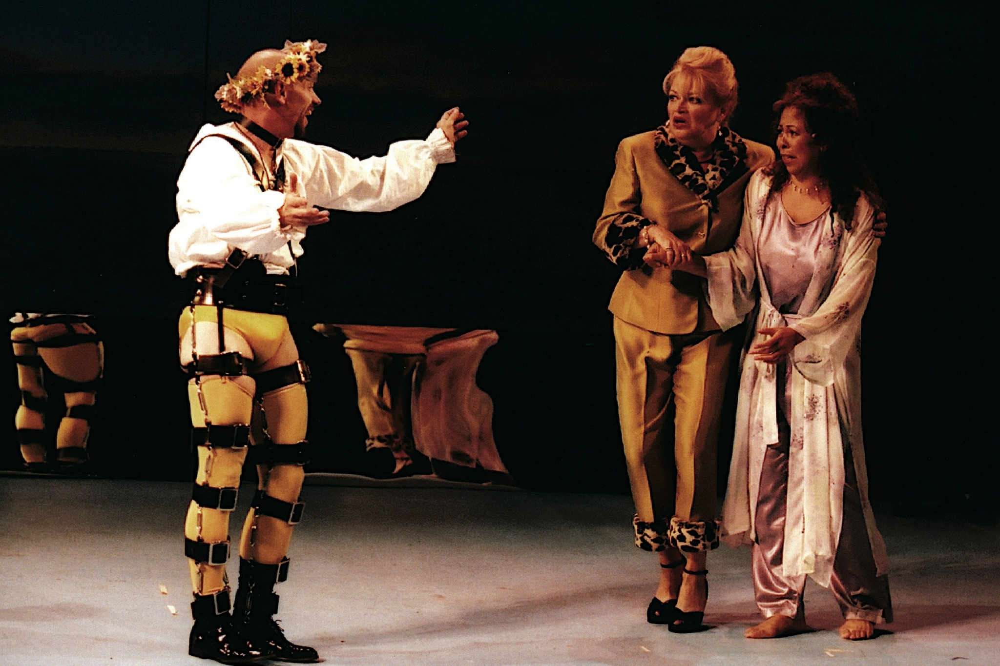 Thomas Derrah (Malvolio), Karen MacDonald (Maria) and Siobhan Juanita Brown (Olivia) in Twelfth Night, Shakespeare on the Common 2001