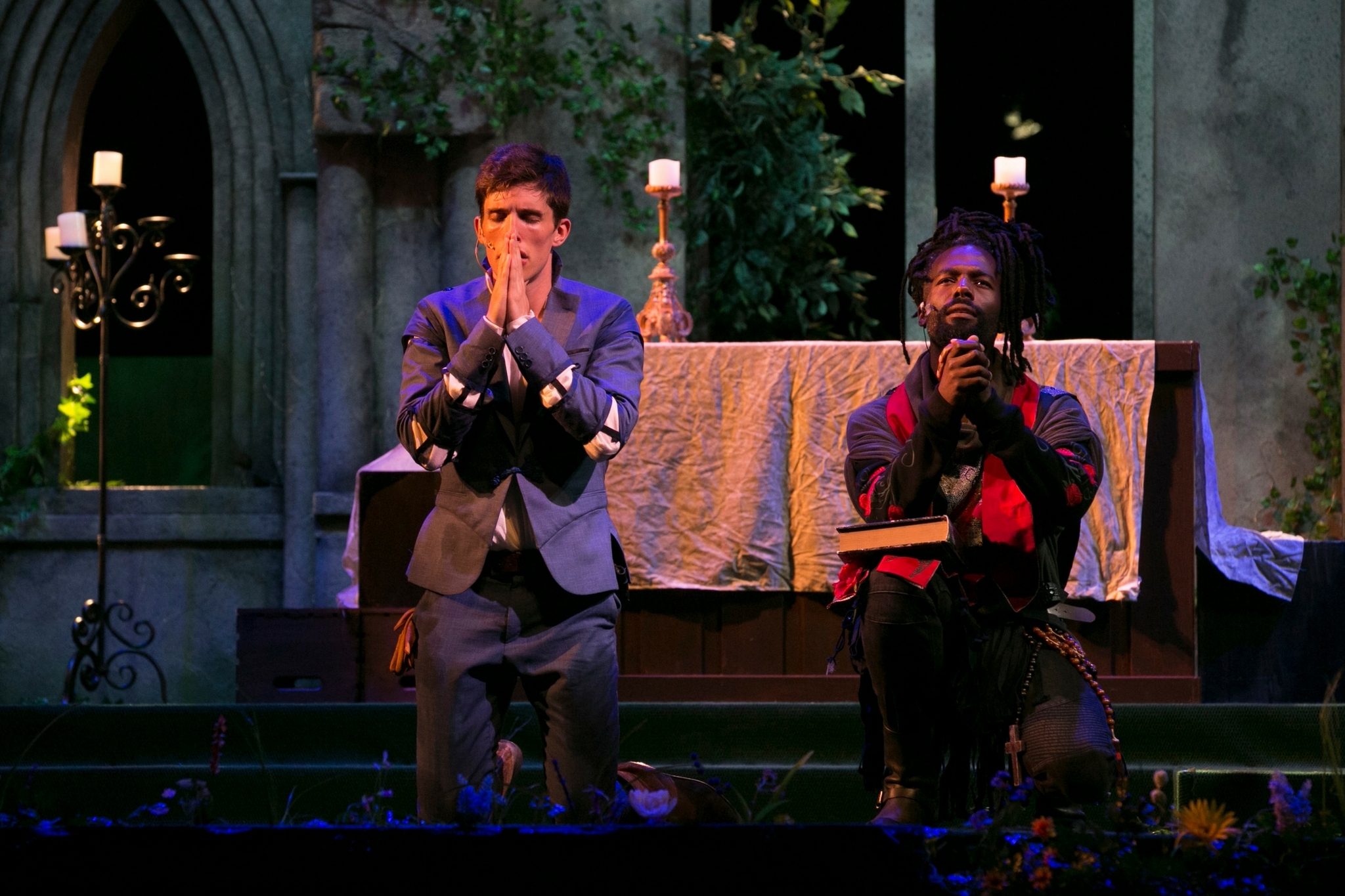 John Zdrojeski (Romeo) and Equiano Mosieri (Friar Laurence) in Romeo & Juliet, Shakespeare on the Common 2017-Photo by Evgenia Eliseeva