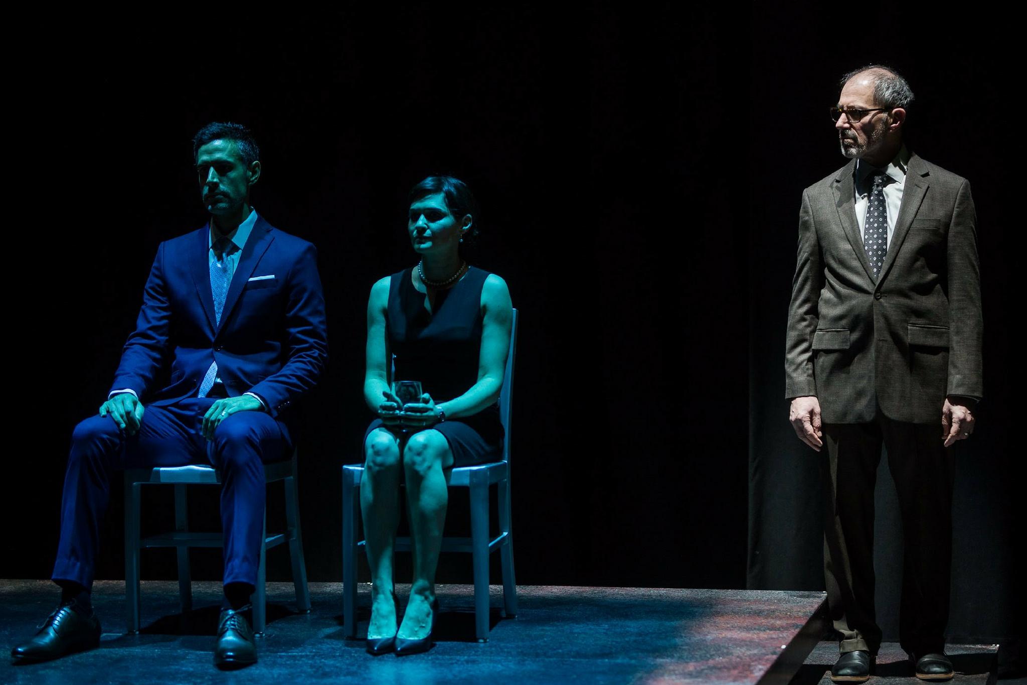 Mickey Solis (Gerardo Escobar), Flora Diaz (Paulina Salas), and Mark Torres (Roberto Miranda) in Death and the Maiden, 2017-Photo by Nile Hawver/Nile Scott Shots