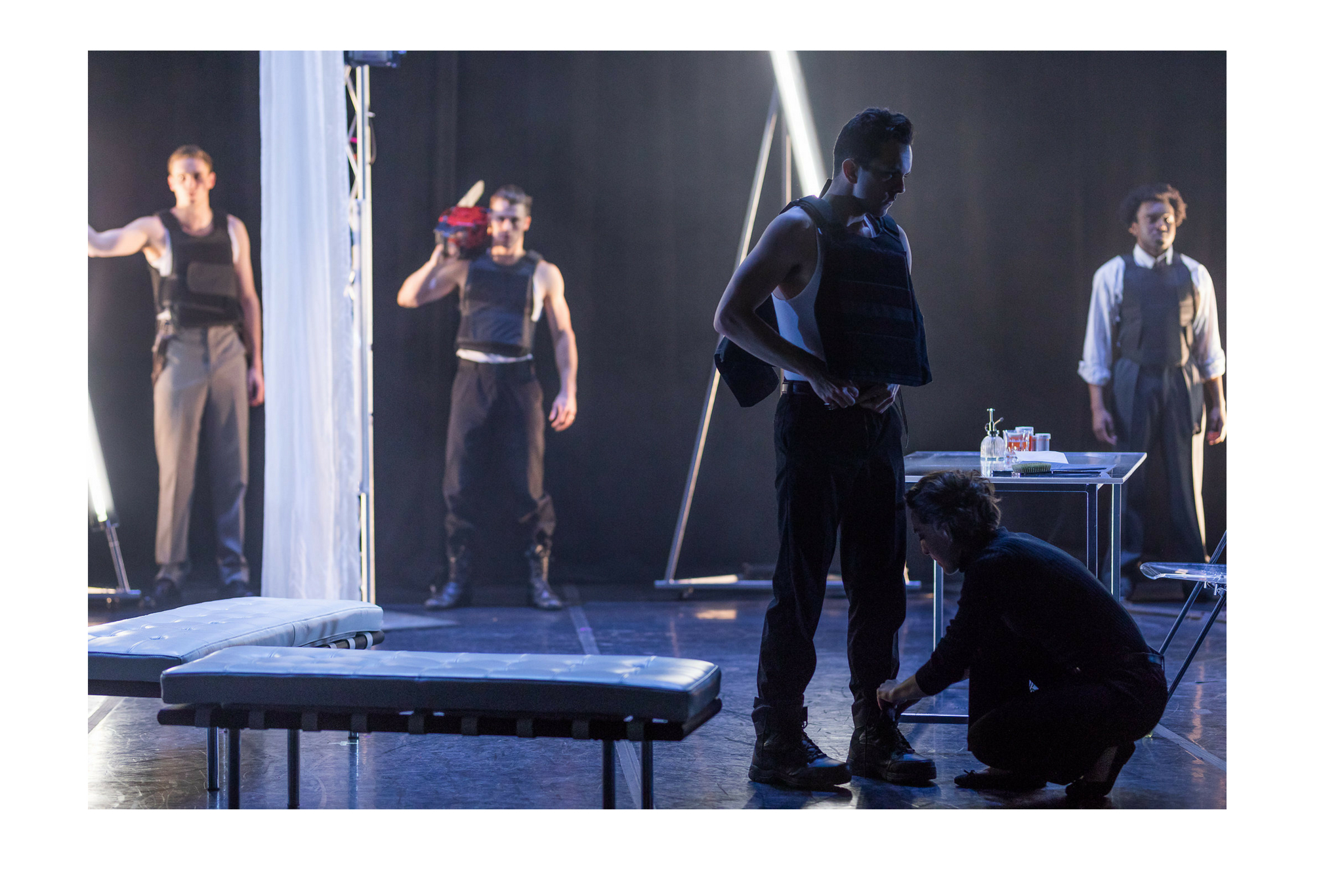 Ross Barron (Ross), Michael Underhill (Macduff), Billy Saunders, Jr. (Macbeth), Susannah Wilson (Seyton), and Tyshon Boone (Malcolm) in Macbeth, CSC2, 2018-Photo by Nile Hawver