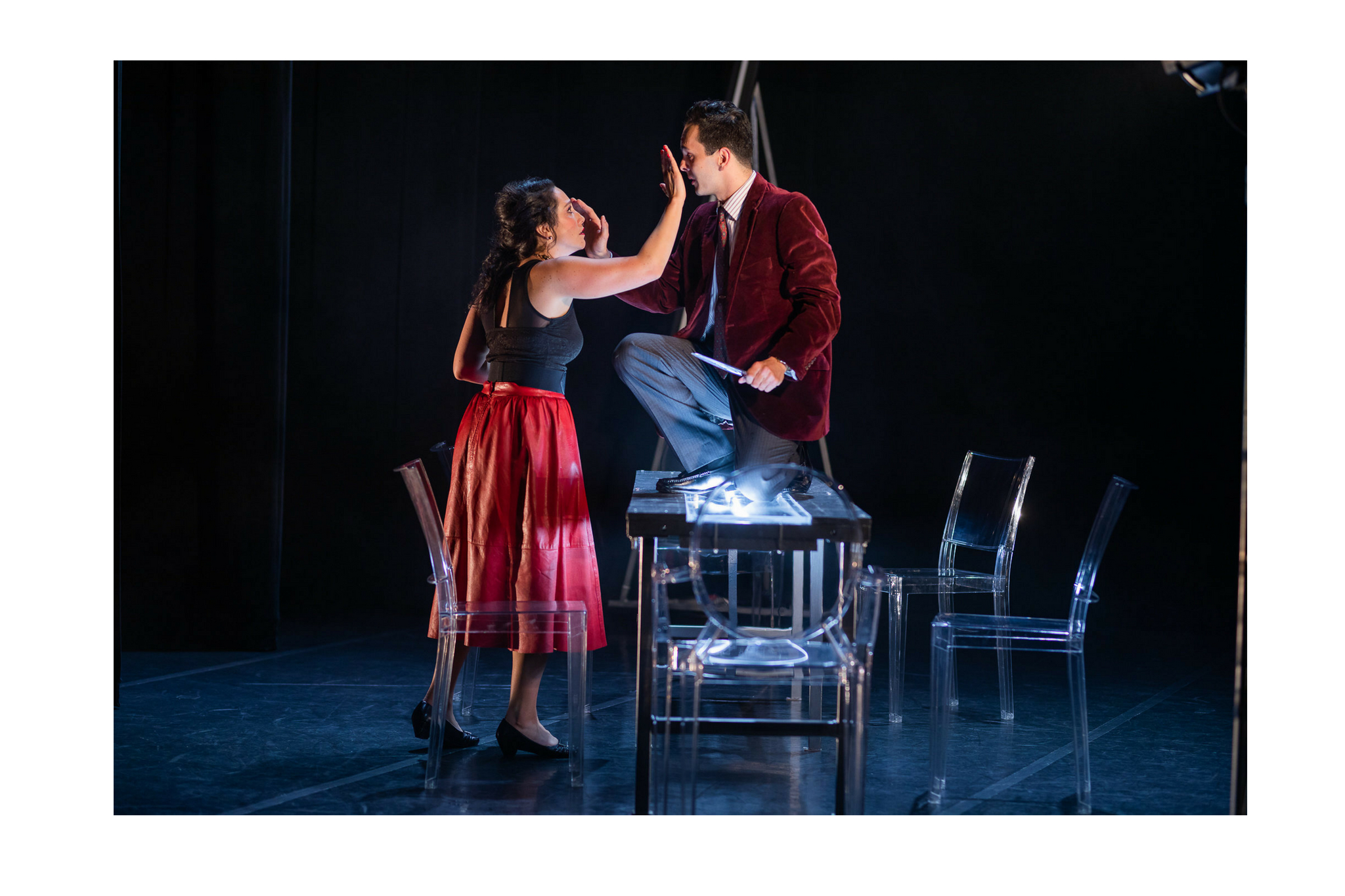 Stefanie Resnick (Lady Macbeth) and Billy Saunders, Jr. (Macbeth) in Macbeth, CSC2, 2018-Photo by Nile Hawver