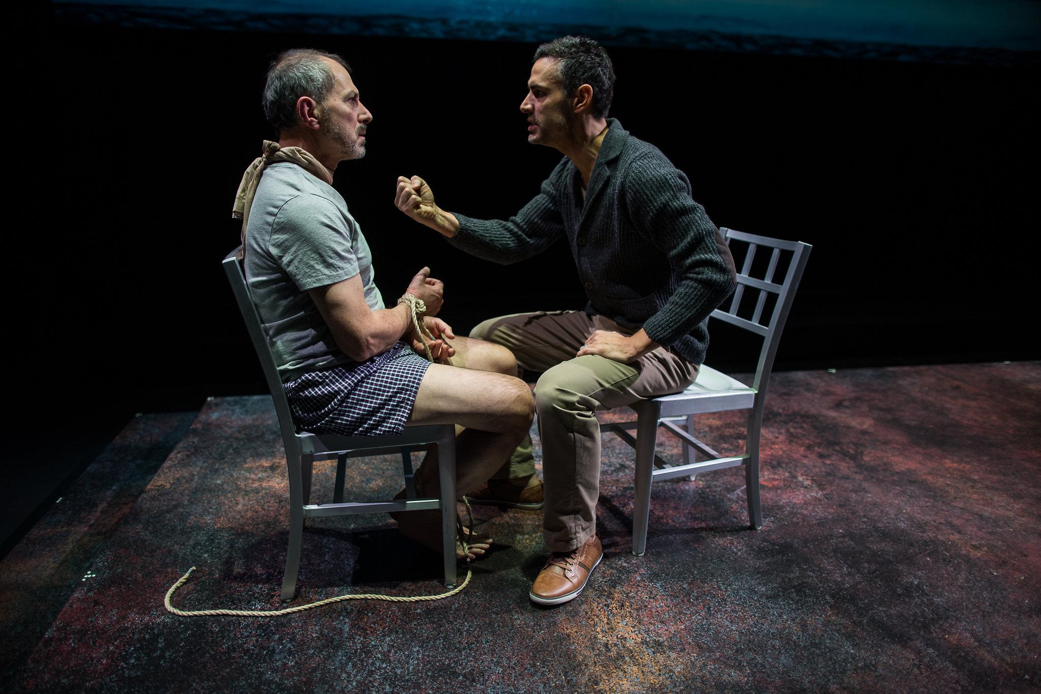 Mark Torres (Roberto Miranda) and Mickey Solis (Gerardo Escobar) in Death and the Maiden, 2017-Photo by Nile Hawver/Nile Scott Shots