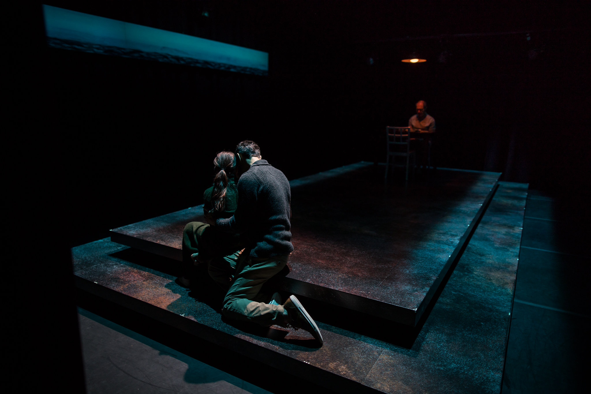 Flora Diaz (Paulina Salas), Mickey Solis (Gerardo Escobar), and Mark Torres (Roberto Miranda) in Death and the Maiden, 2017-Photo by Nile Hawver/Nile Scott Shots