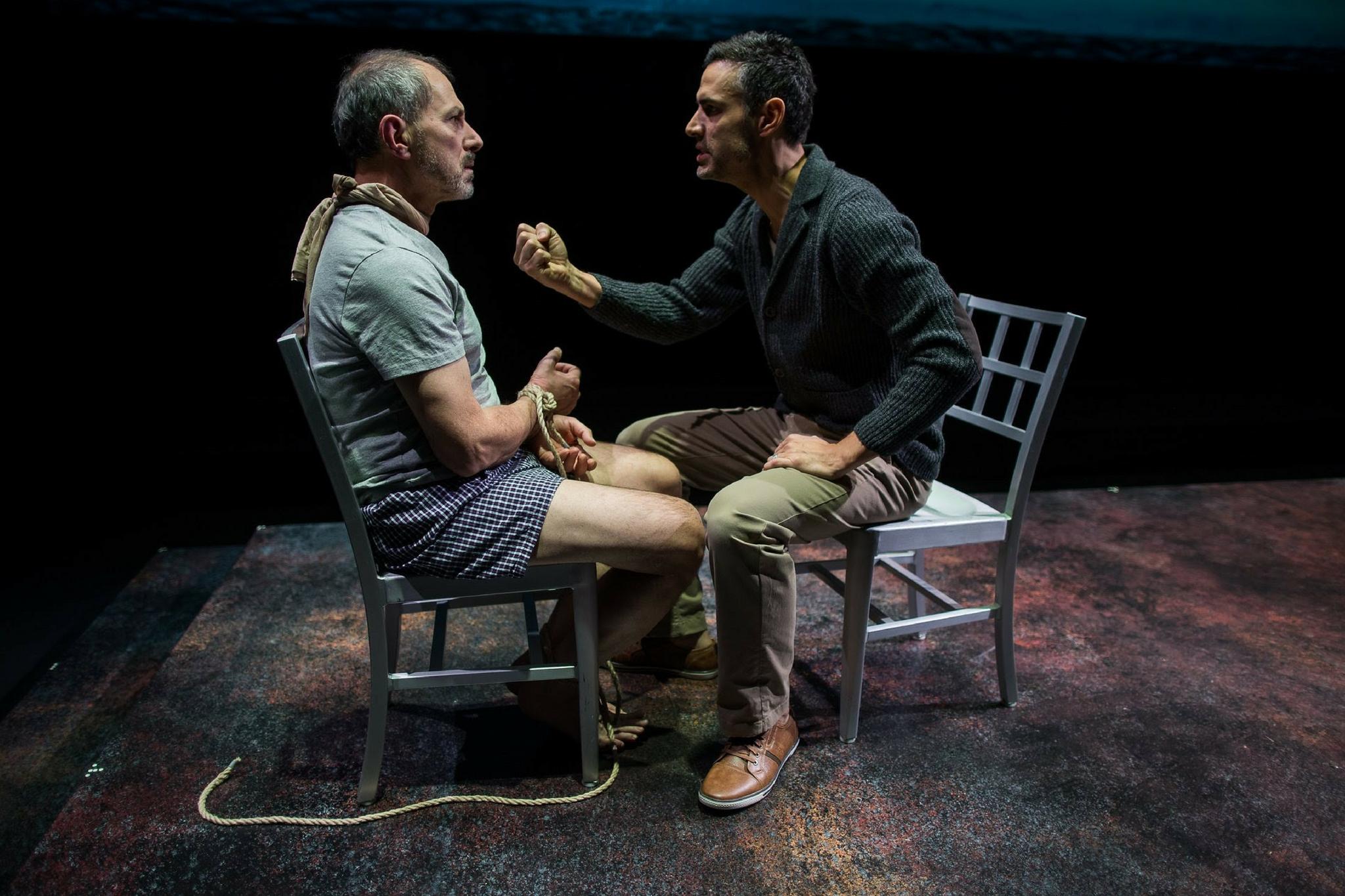 Mark Torres (Roberto Miranda) and Mickey Solis (Gerardo Escobar) in Death and the Maiden, 2018-Photo by Evgenia Eliseeva