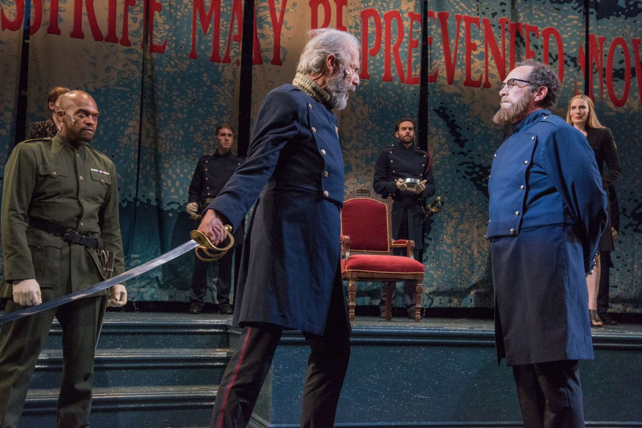 Maurice Emmanuel Parent (Duke of Cornwall), Will Lyman (King Lear), and Jeremiah Kissel (Earl of Kent) in King Lear, Shakespeare on the Common 2015-Photo by Andrew Brilliant