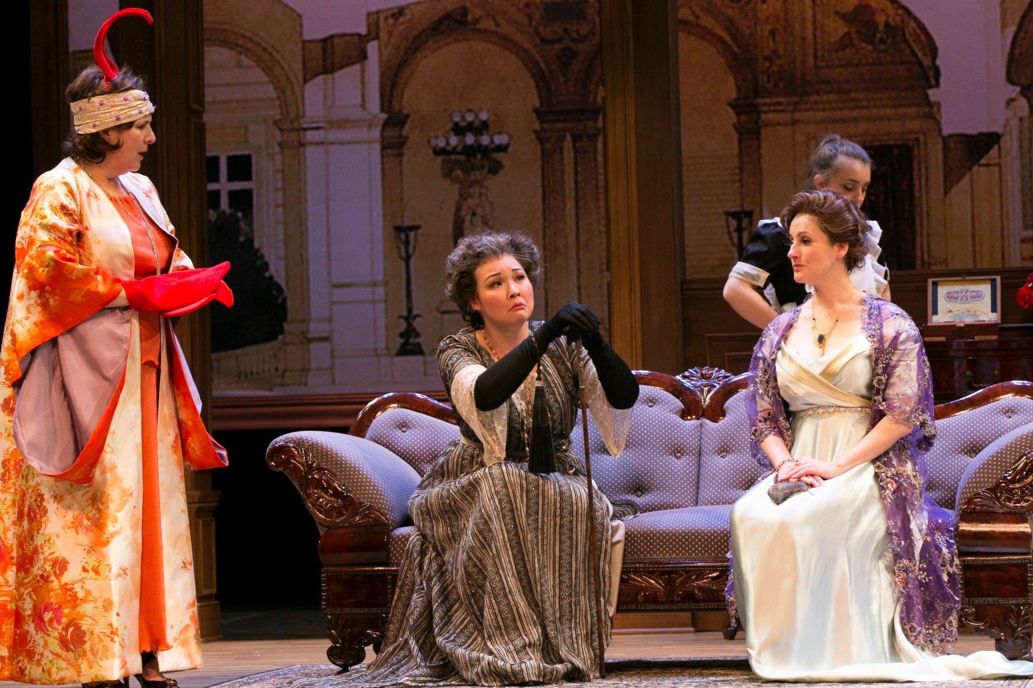 Veronica Anastasio Wiseman (Sally Webster), Jordan Clark (Betina Brevoort), Josephine Moshiri Elwood (Mary Gallagher), and Amanda Collins (Florence Deroot) in Old Money, 2018-Photo by Evgenia Eliseeva