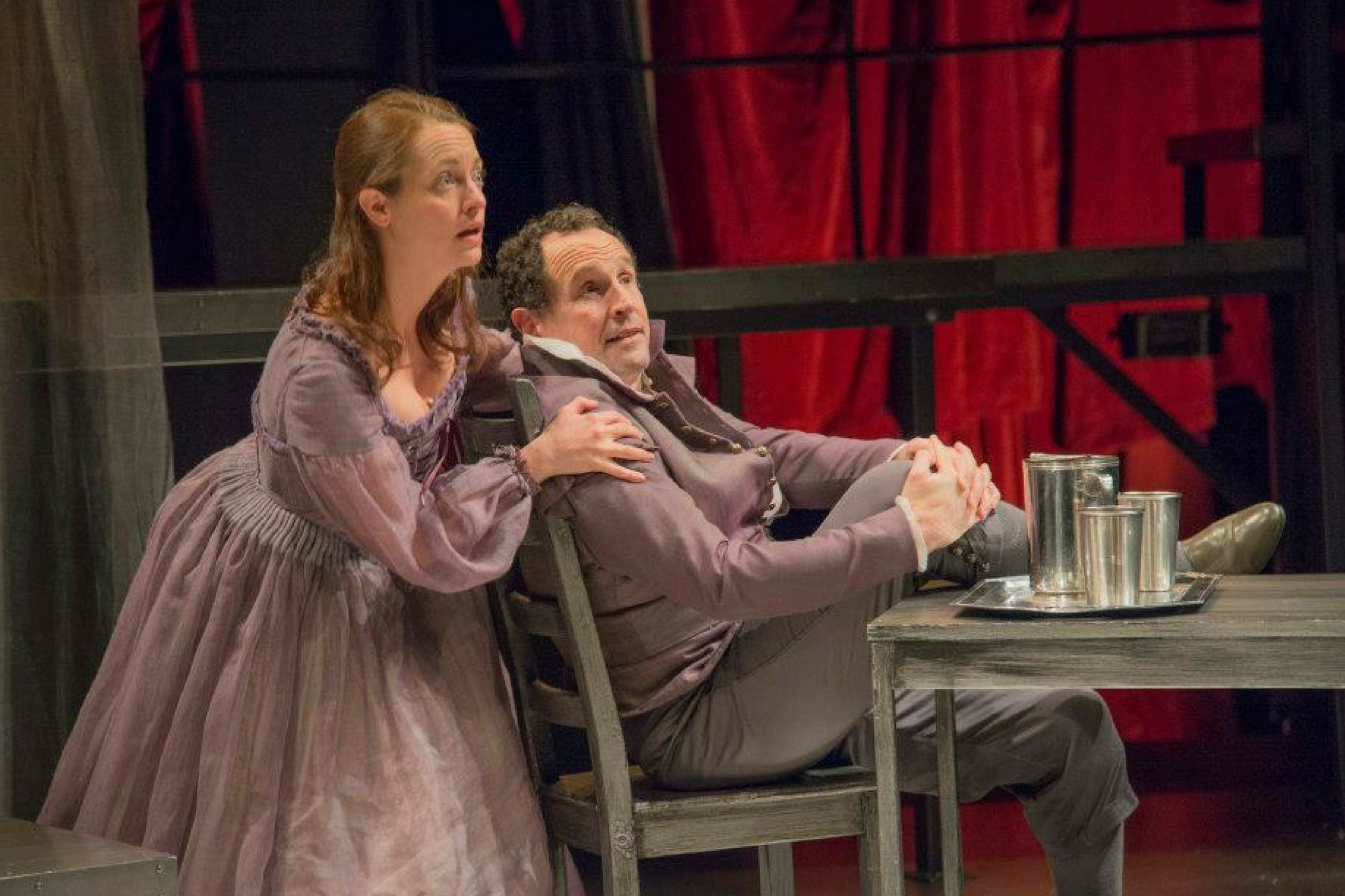 Stacey Fischer (Judith Shakespeare) and Jeremiah Kissel (Richard Burbage) in The Last Will, 2013-Photo by Andrew Brilliant
