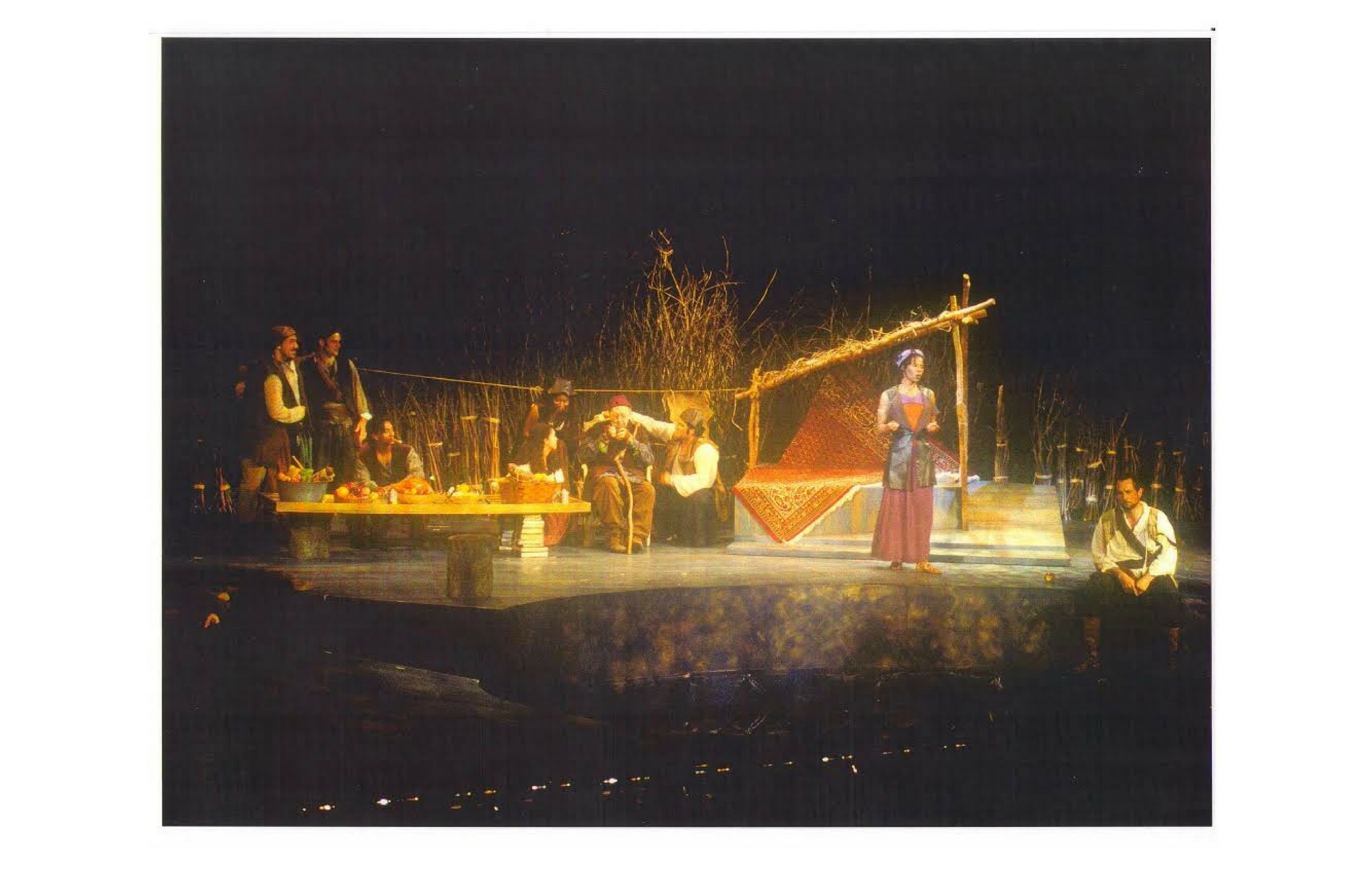 Jeremiah Kissel (far right as Jaques) and cast in As You Like It, Shakespeare on the Common 1998