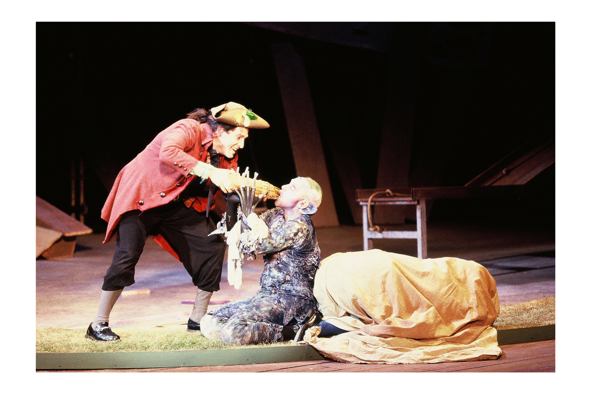Jeremiah Kissel (Stephano) and Thomas Derrah (Caliban) in The Tempest, Shakespeare on the Common 2000