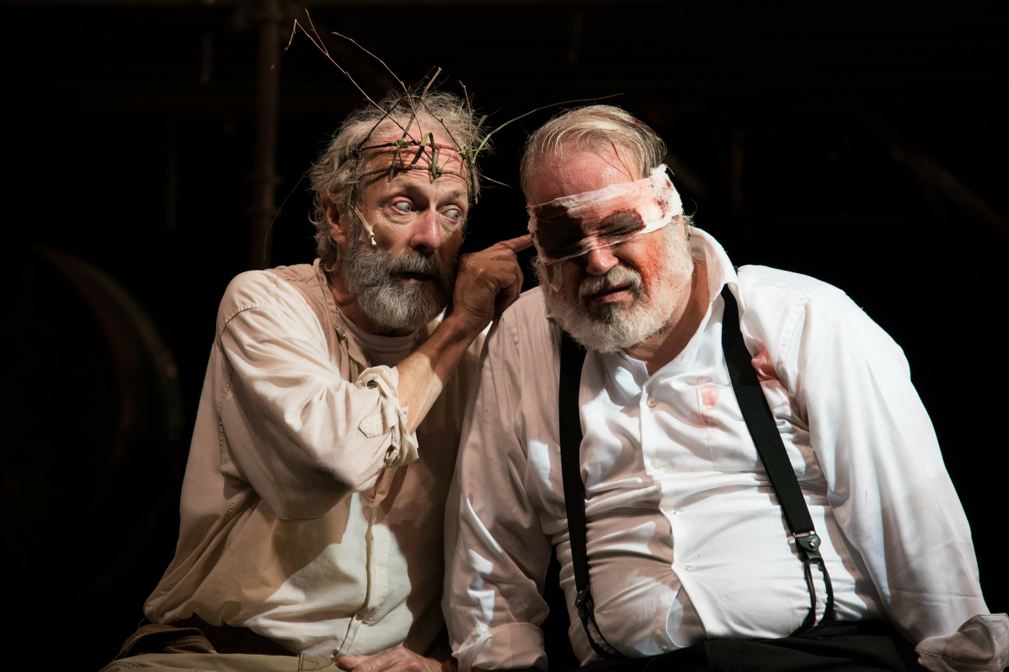 Will Lyman (King Lear) and Fred Sullivan, Jr. (Earl of Gloucester) in King Lear, Shakespeare on the Common 2015-Photo by Andrew Brilliant