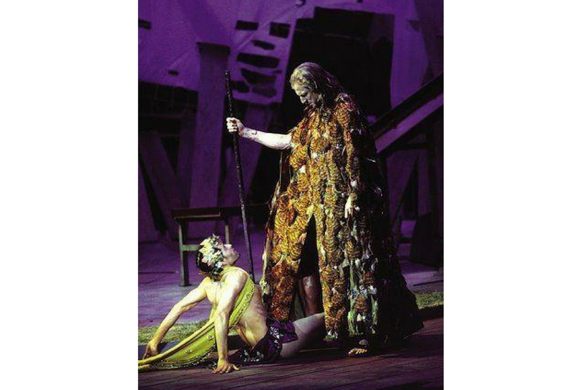 Antonio Suarez (Ariel) and Will Lyman (Prospero) in The Tempest, Shakespeare on the Common 2000