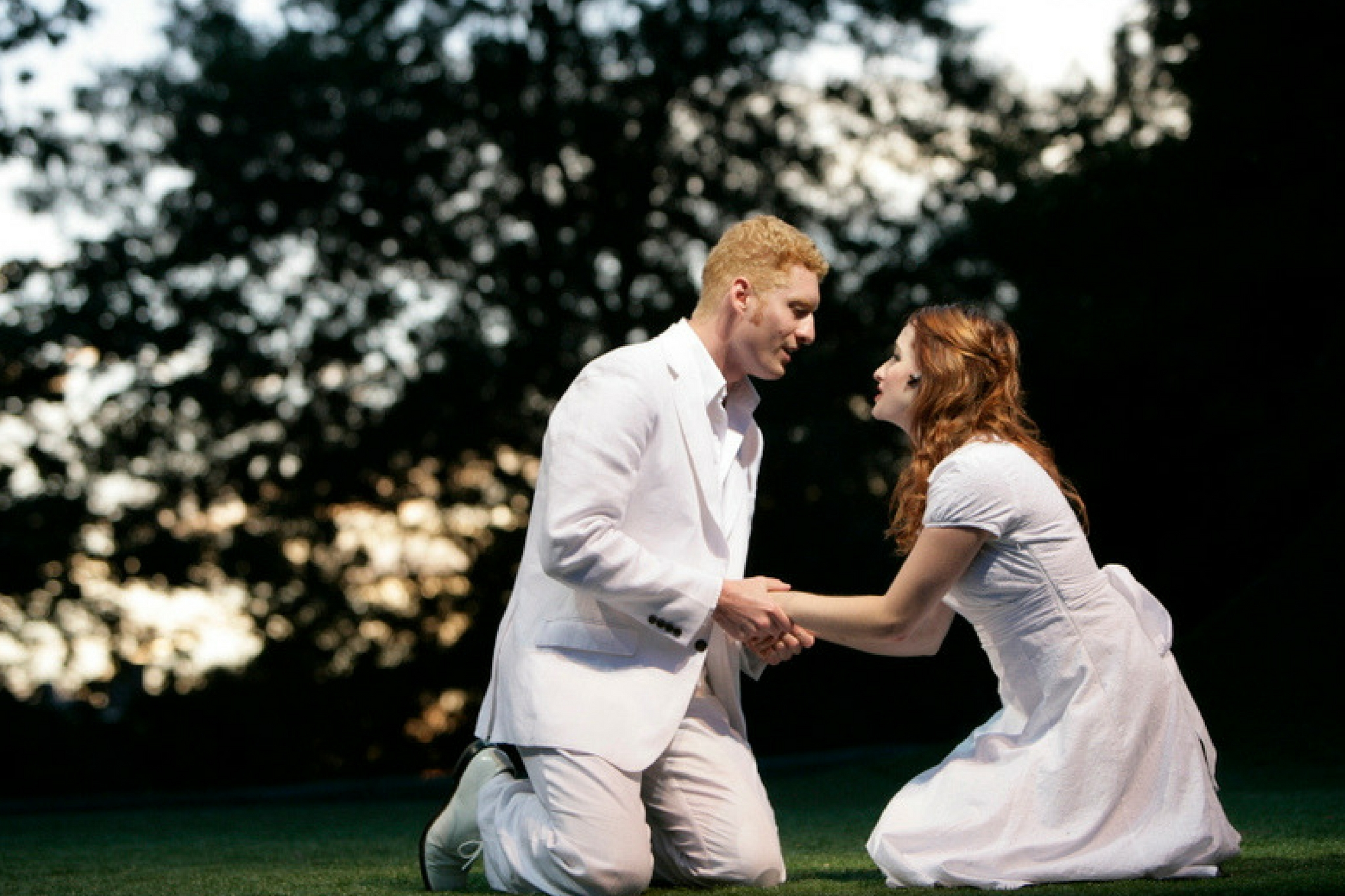 Ed Hoopman (Lysander) and Meghan Bradley (Hermia) in A Midsummer Night's Dream Shakespeare on the Common 2007-Photo by T. Charles Erickson