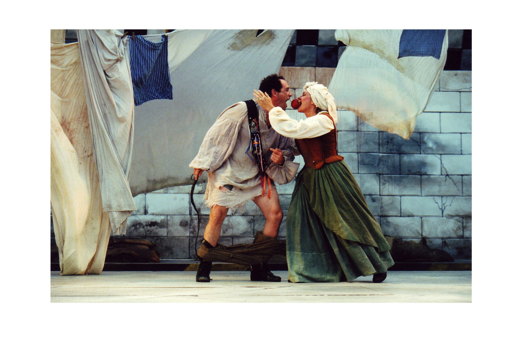 Jeremiah Kissel (Pistol) and Marya Lowry (Mistress Quickly) in Henry V, Shakespeare on the Common 2002