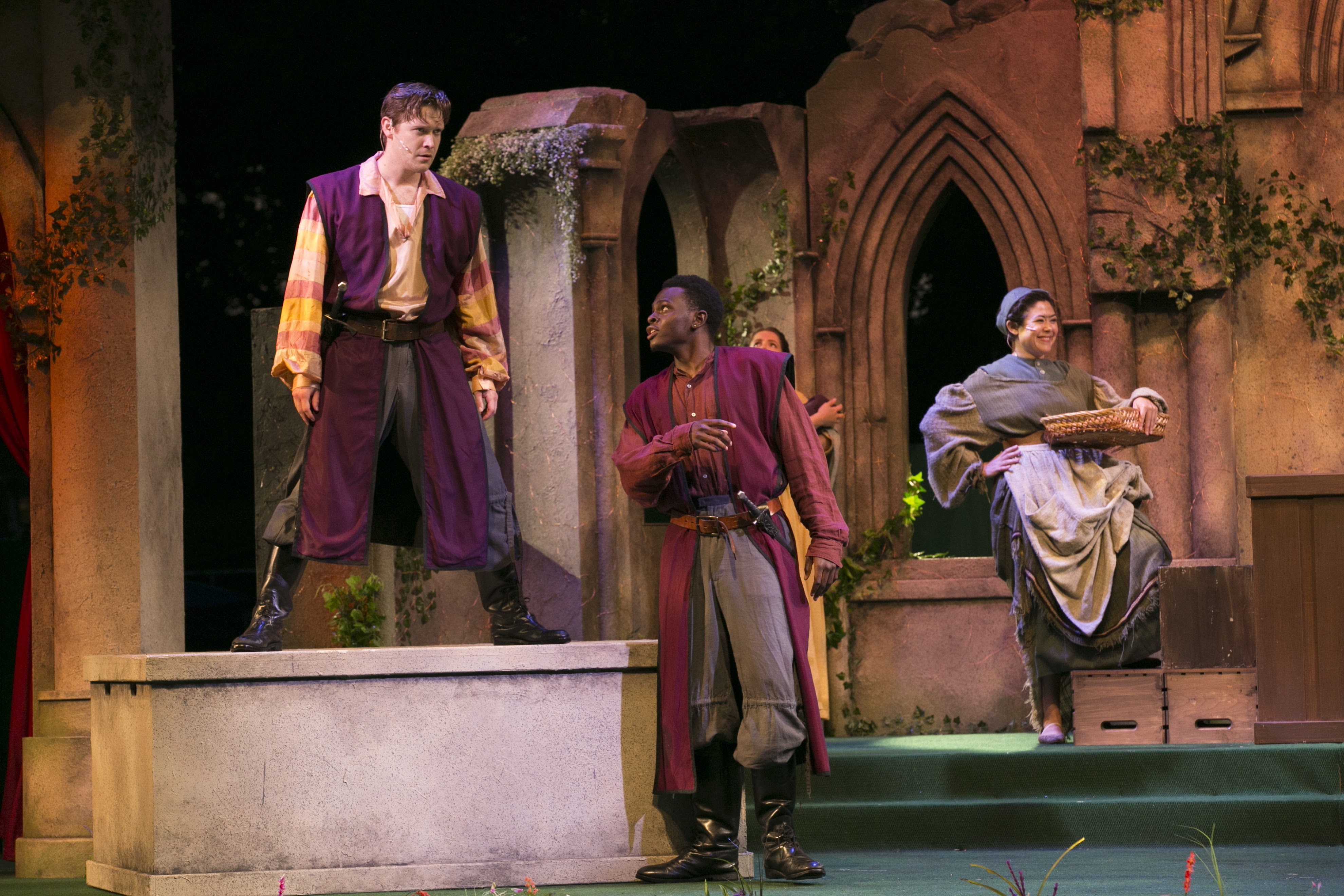 Tim Hackney (Samson), Jamil Joseph (Gregory), and Cassie Foote (Verona Citizen) in Romeo & Juliet, Shakespeare on the Common 2017-Photo by Evgenia Eliseeva