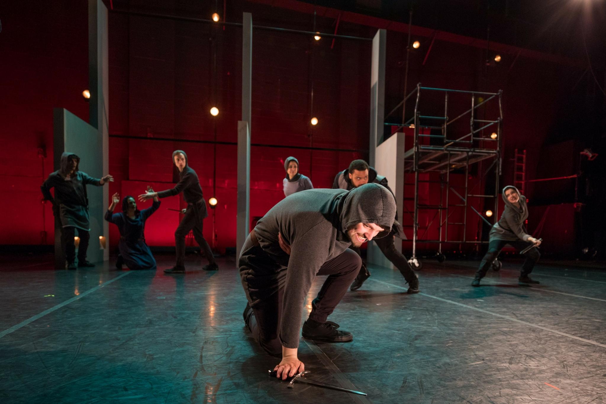 Alex Deroo (Metellus) and the cast of Julius Caesar, CSC2, 2017-Photo by Nile Hawver