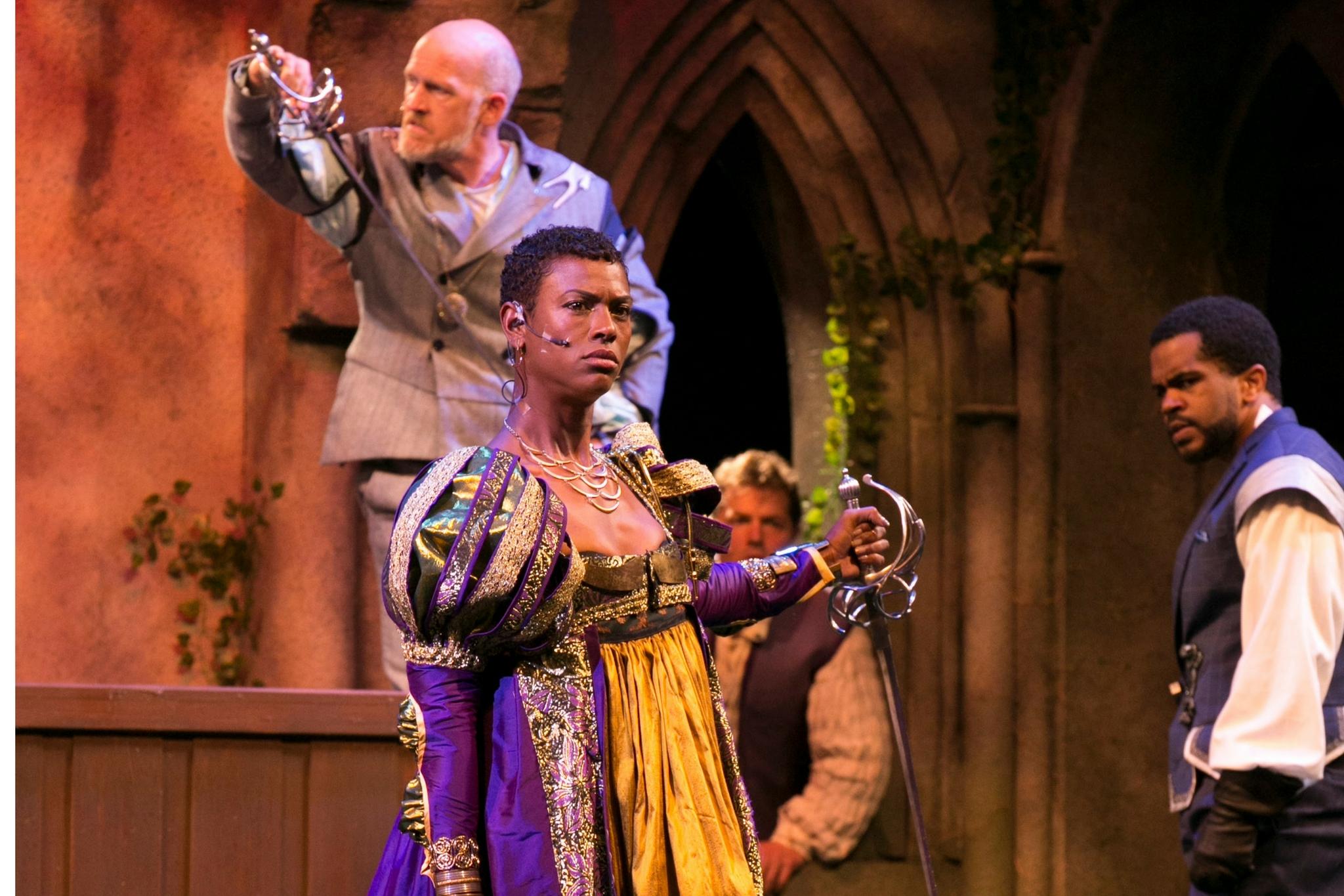 Mark Soucy (Lord Montegue), Kaci Hamilton (Prince Escalus), Adam Ewer (Paris), and Brandon G. Green (Benvolio) in Romeo & Juliet, Shakespeare on the Common 2017-Photo by Evgenia Eliseeva