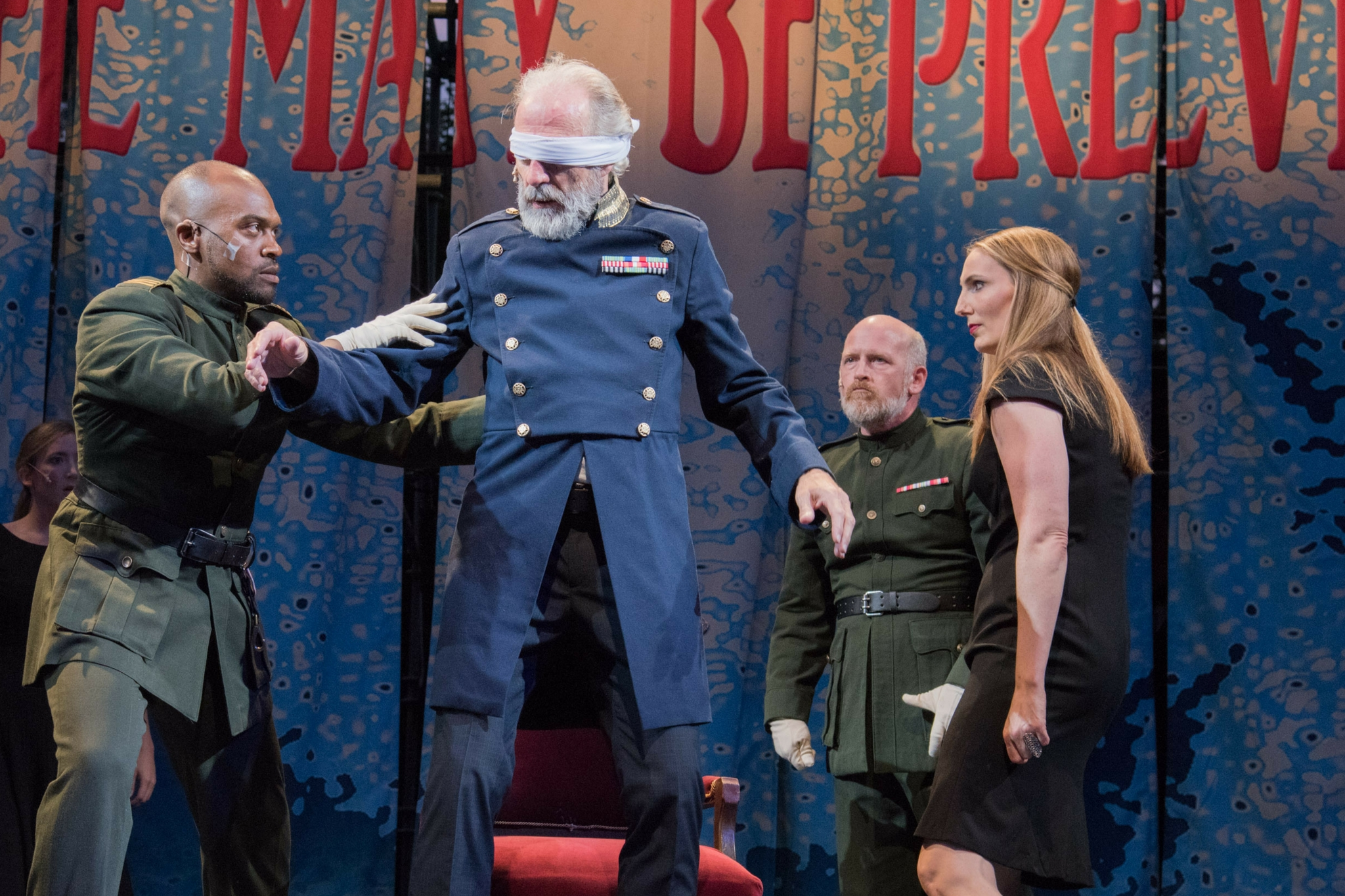 Maurice Emmanuel Parent (Duke of Cornwall), Will Lyman (King Lear), Mark Soucy (Due of Albany), and Deb Martin (Goneril) in King Lear, Shakespeare on the Common 2015-Photo by Andrew Brilliant
