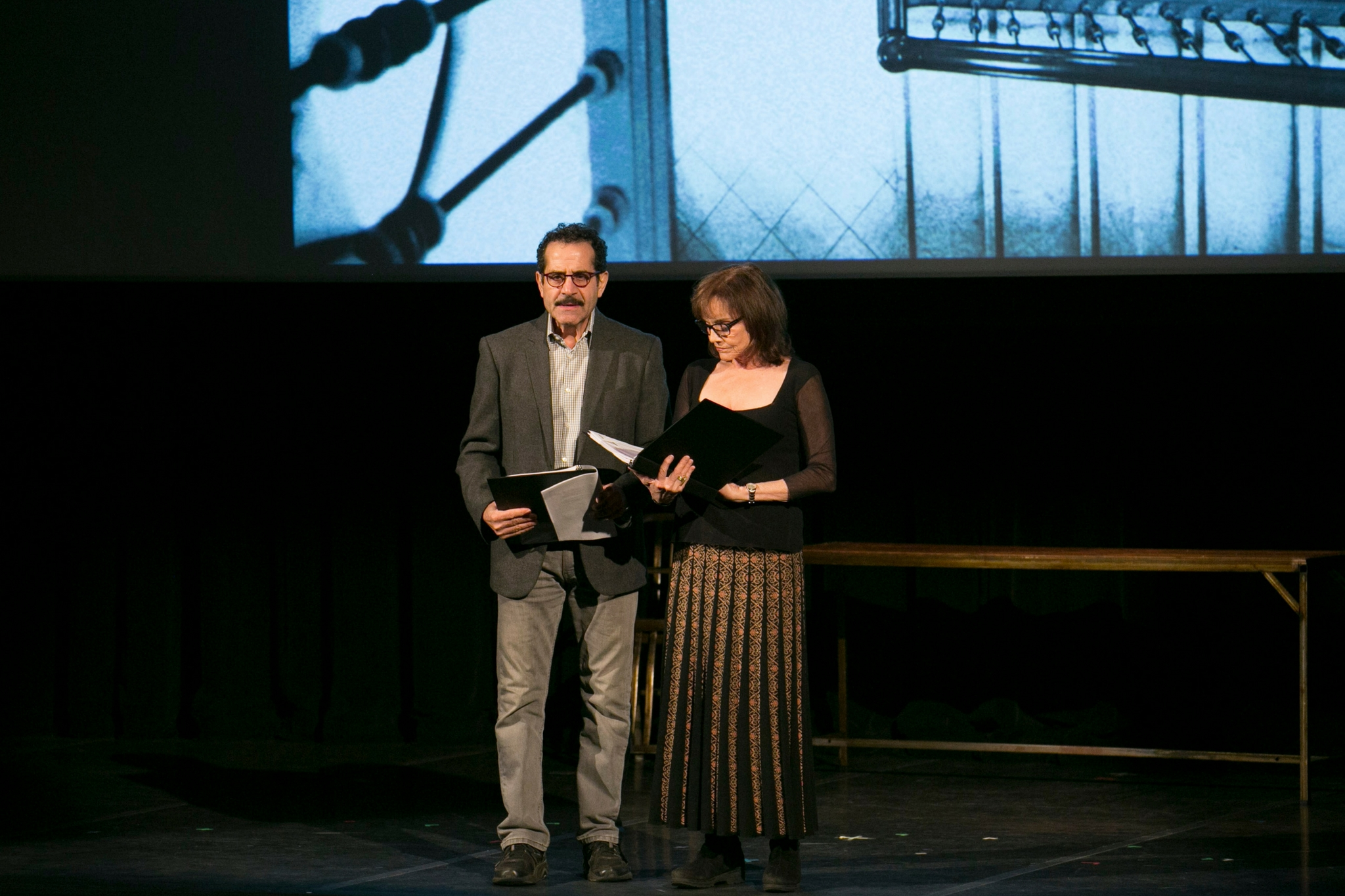 Tony Shalhoub (Man) and Brooke Adams (Woman)in The Betrayal, Theatre in the Rough, 2017-Photo by Evgenia Eliseeva