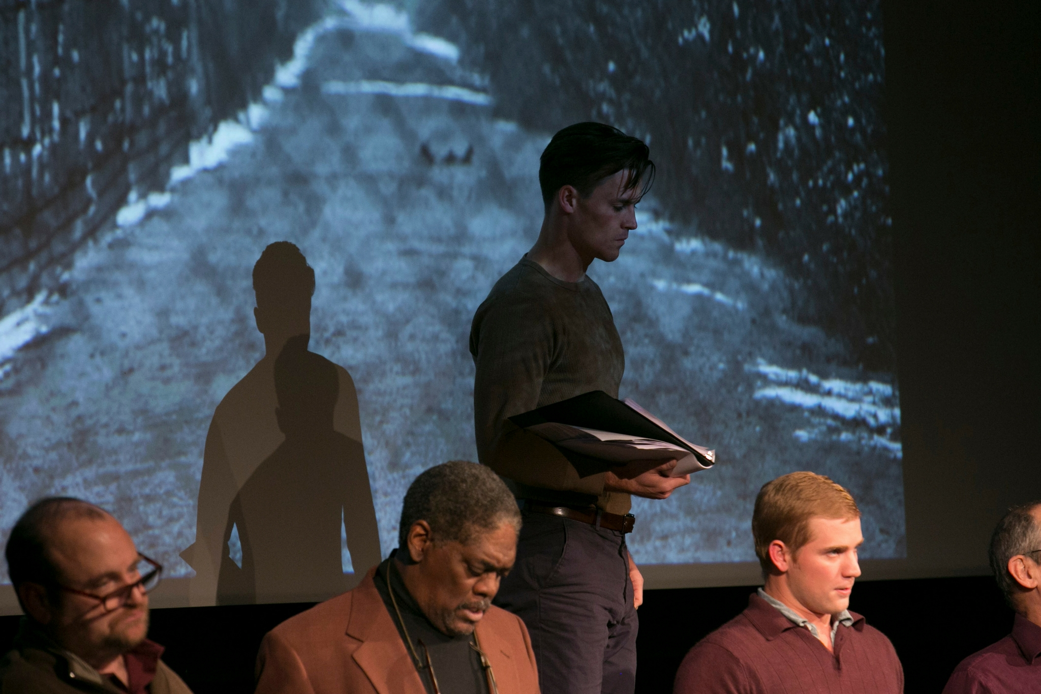 Brandon Whitehead (The Communist), Johnny Lee Davenport (The Pastor), Michael Underhill (S.S. Guard), and Nash Hightower (Second S.S. Guard ) in Prisoners Mix Cement, Theatre in the Rough, 2017-Photo by Evgenia Eliseeva