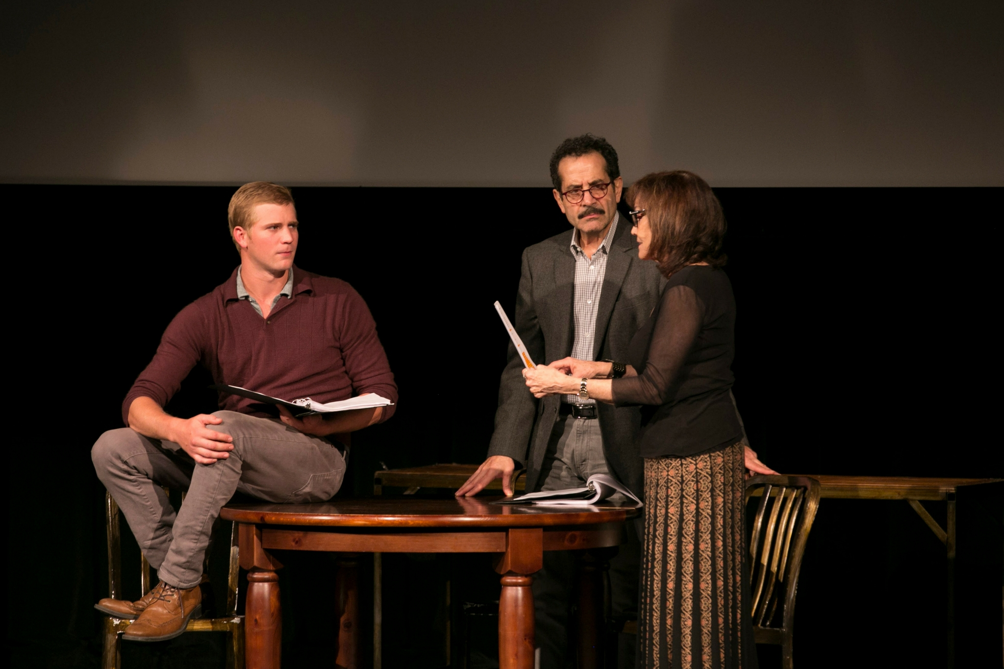 Nash Hightower (Younger Worker), Tony Shalhoub (Older Worker), and Brooke Adams (Woman), Theatre in the Rough, 2017-Photo by Evgenia Eliseeva