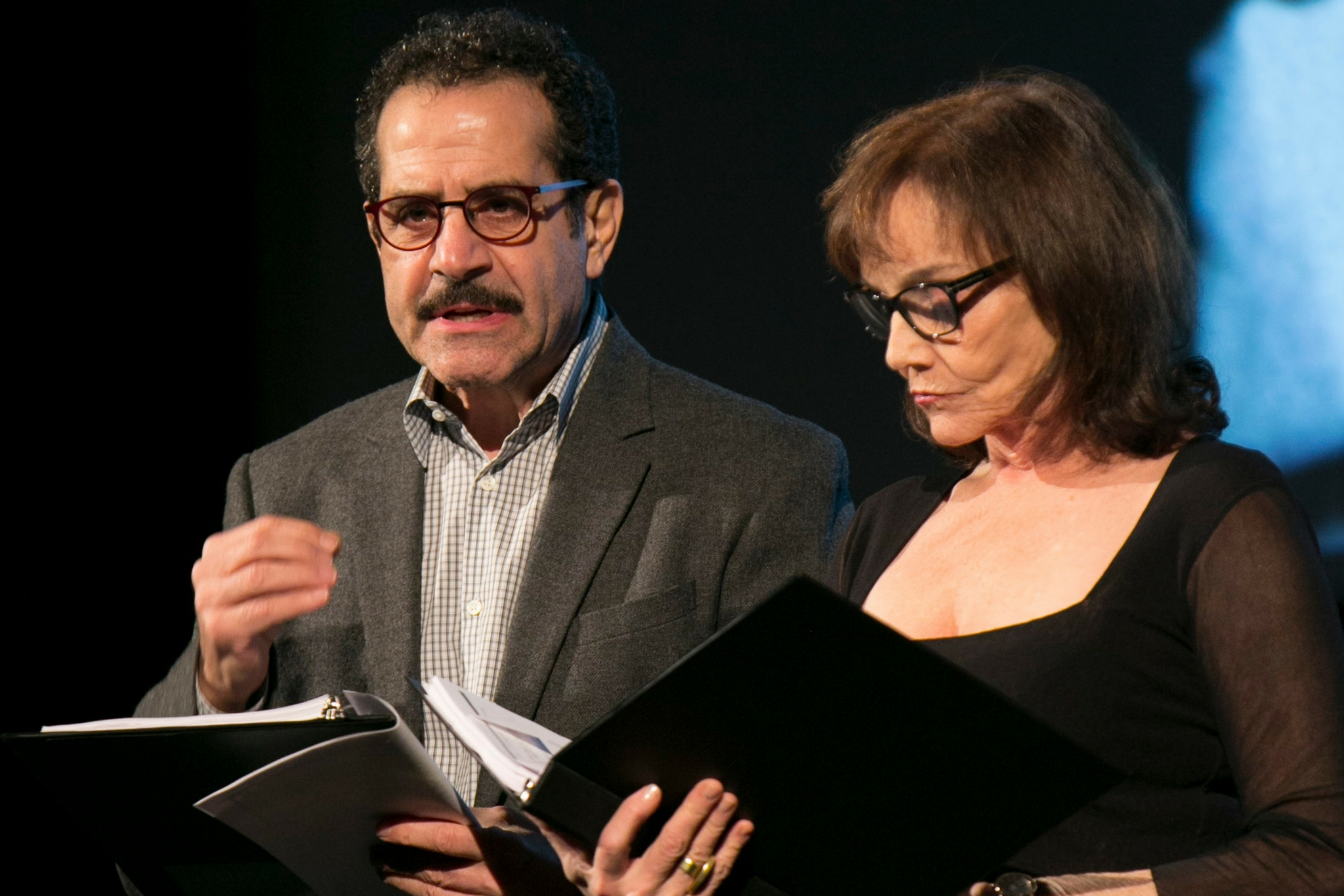 Tony Shalhoub (Man) and Brooke Adams (Woman) in The Betrayal, Theatre in the Rough, 2017-Photo by Evgenia Eliseeva