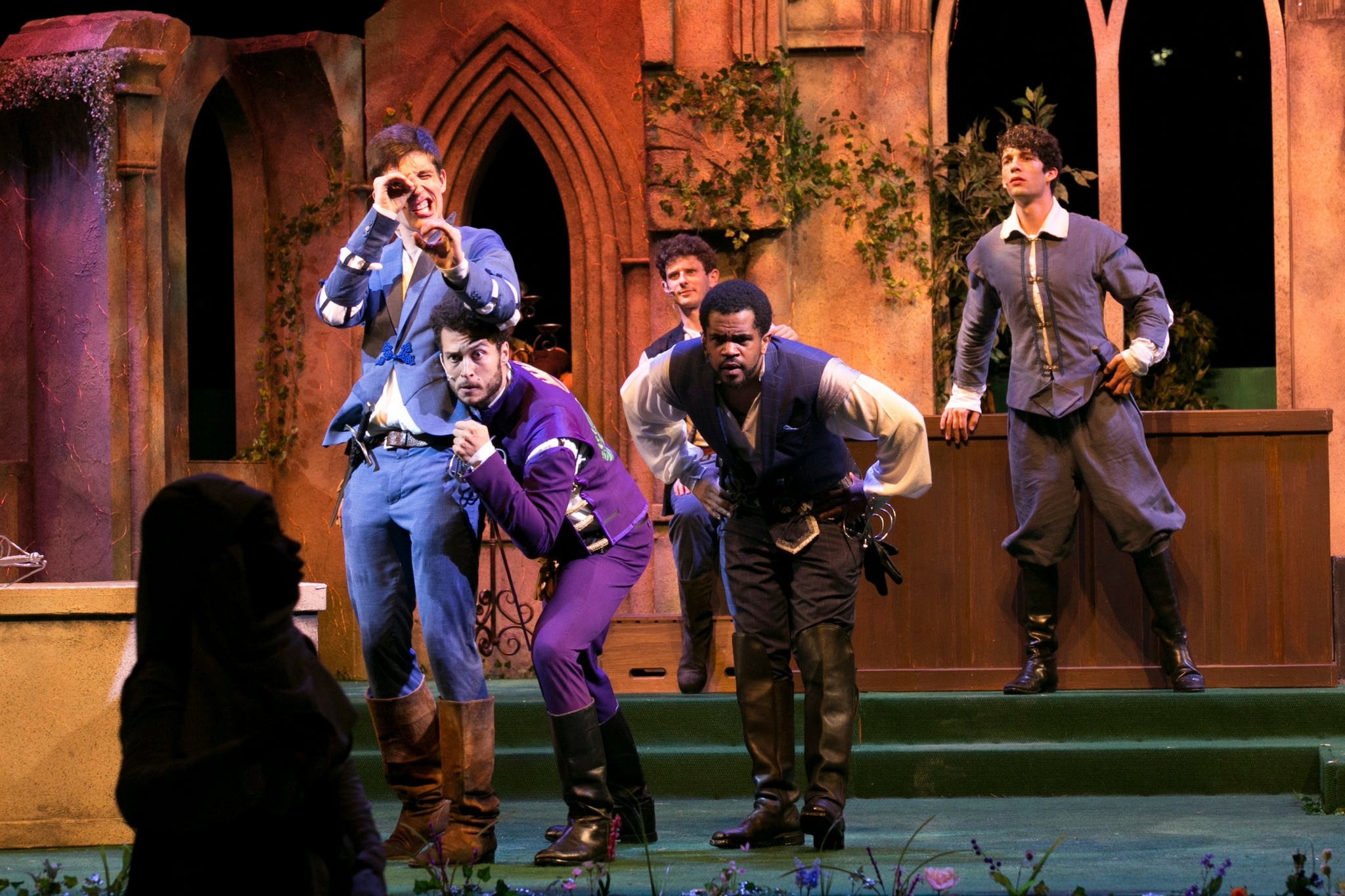 John Zdrojeski (Romeo) Kario Marcel (Mercutio), Brandon G. Green (Benvolio), Andrew Prensky (Abram), and Joey Tyler (Balthasar) in Romeo & Juliet, Shakespeare on the Common 2017-Photo by Evgenia Eliseeva
