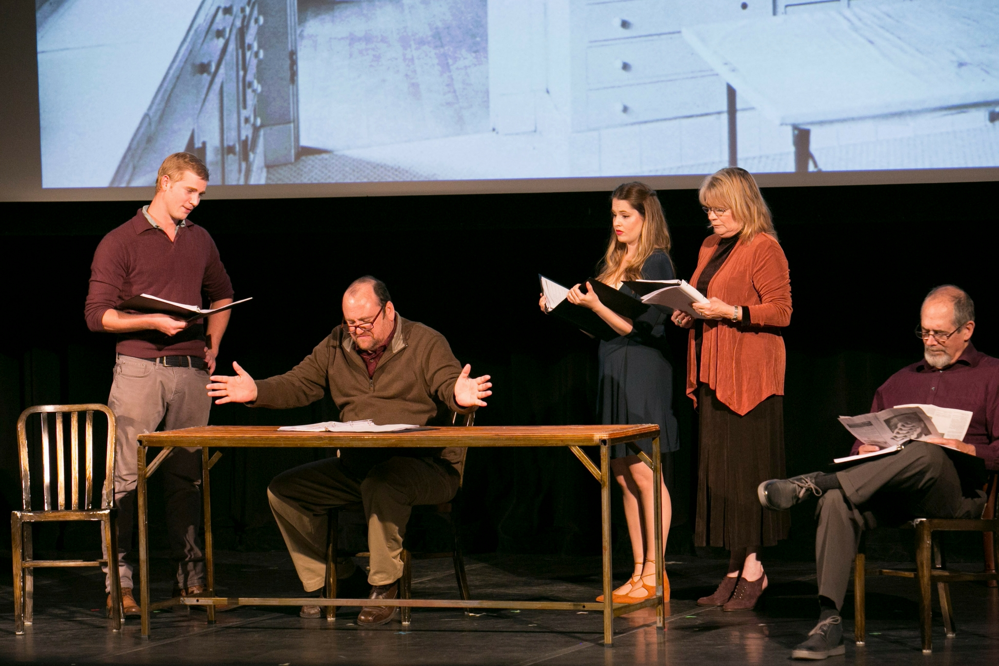 Nash Hightower (S.A. Man), Brandon Whitehead (Worker), Sarah Mass (Parlor Maid), Karen MacDonald (Cook), and Joel Colodner (Chauffeur)in The Chalk Cross, Theatre in the Rough, 2017-Photo by Evgenia Eliseeva