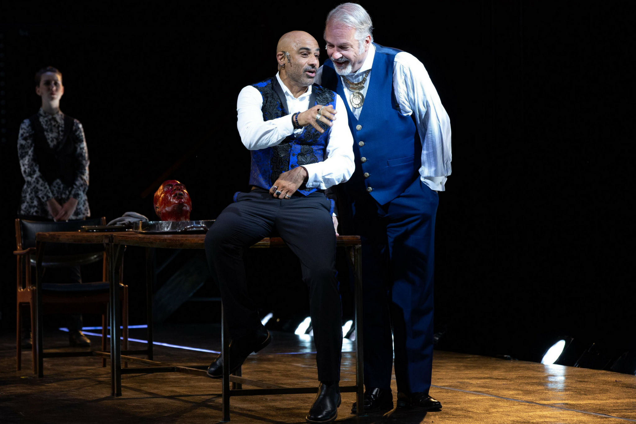 Faran Tahir (Richard III) and Fred Sullivan, Jr. (Buckingham) in Richard III, Shakespeare on the Common 2018-Photo by Evgenia Eliseeva