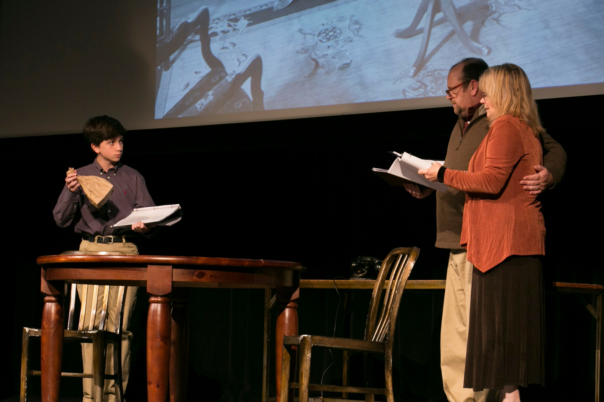 Seamus Doyle (Boy), Karen MacDonald (Wife), and Brandon Whitehead (Husband) in Fear and Misery in the Third Reich, Theatre in the Rough, 2017-Photo by Evgenia Eliseeva