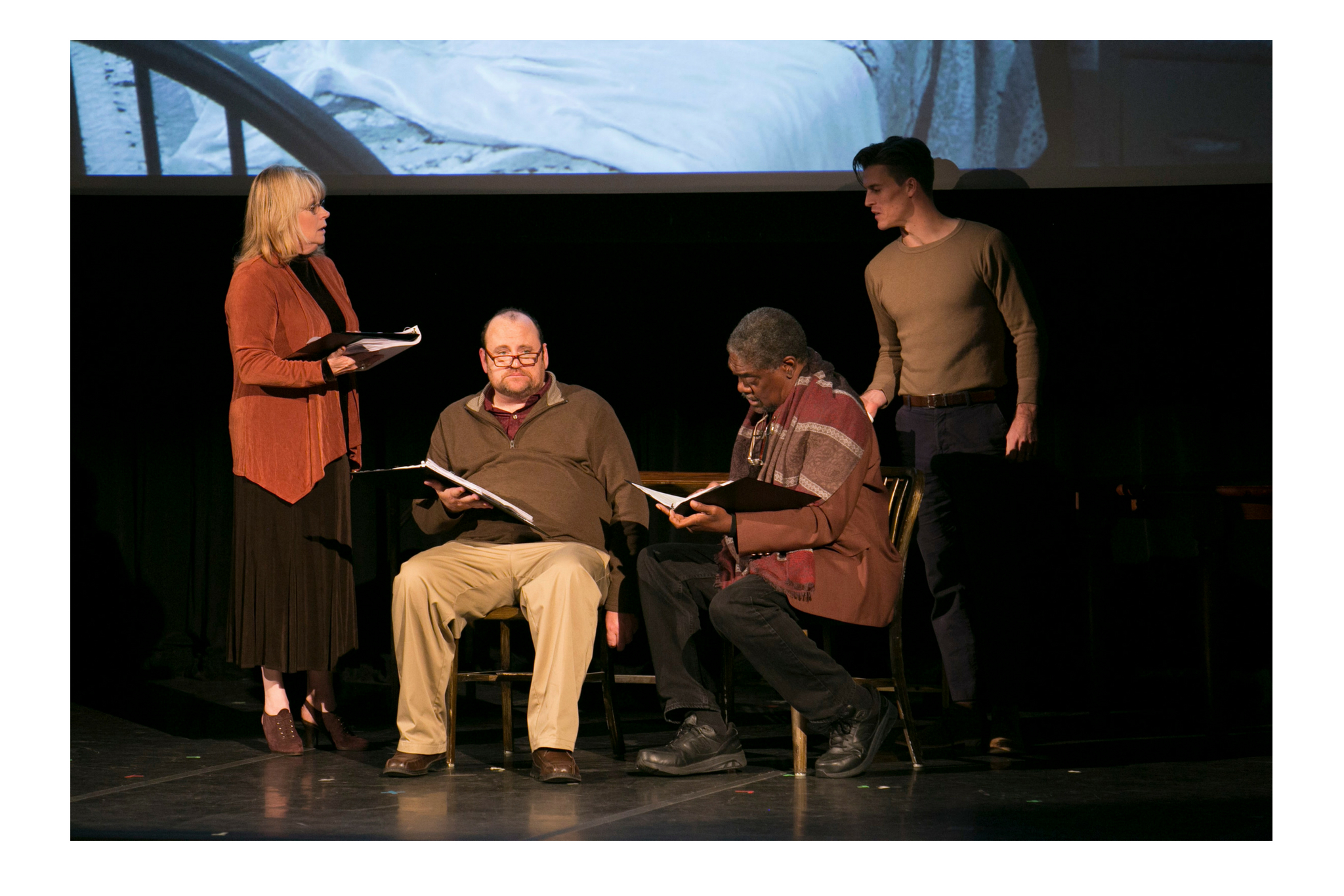Karen MacDonald (Wife) Brandon Whitehead (Dying Man), Johnny Lee Davenport (Pastor), and Michael Underhill (Son) in Sermon on the Mount, Theatre in the Rough, 2017-Photo by Evgenia Eliseeva