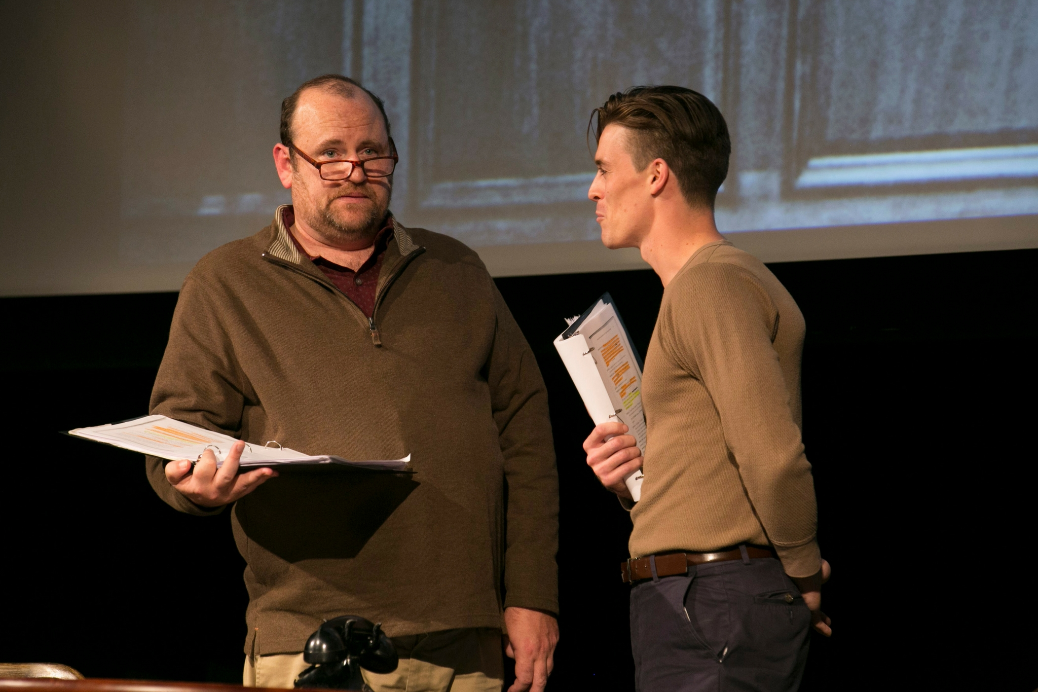 Brandon Whitehead (Judge A) and Michael Underhill (Prosecutor) in In Search of Justice, Theatre in the Rough, 2017-Photo by Evgenia Eliseeva