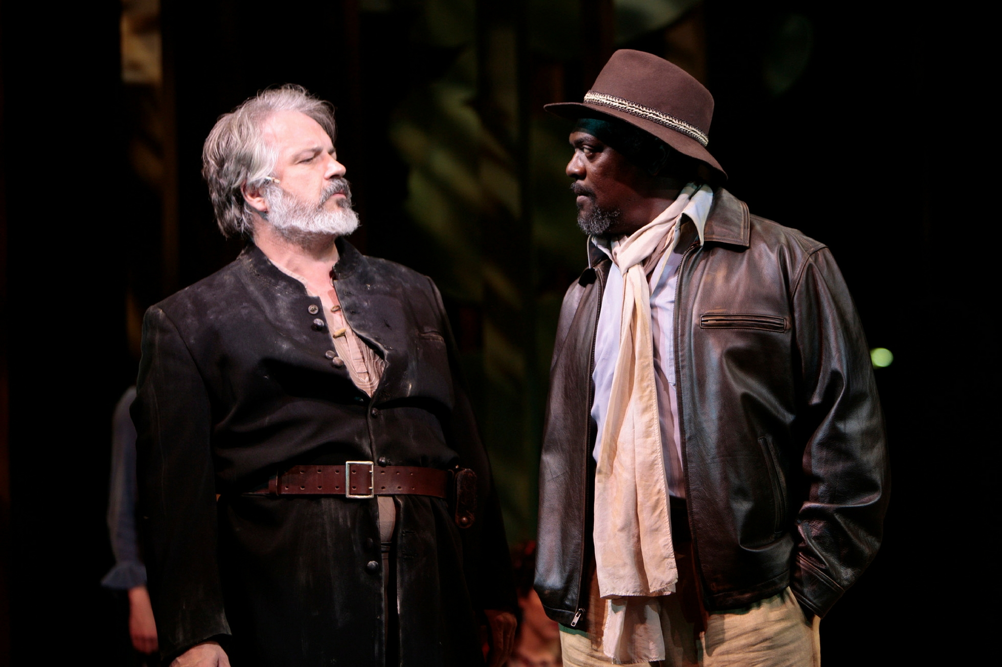 Fred Sullivan, Jr. (Jaques) and Johnny Lee Davenport (Duke Senior) in As You Like It, Shakespeare on the Common 2008-Photo by T. Charles Erickson