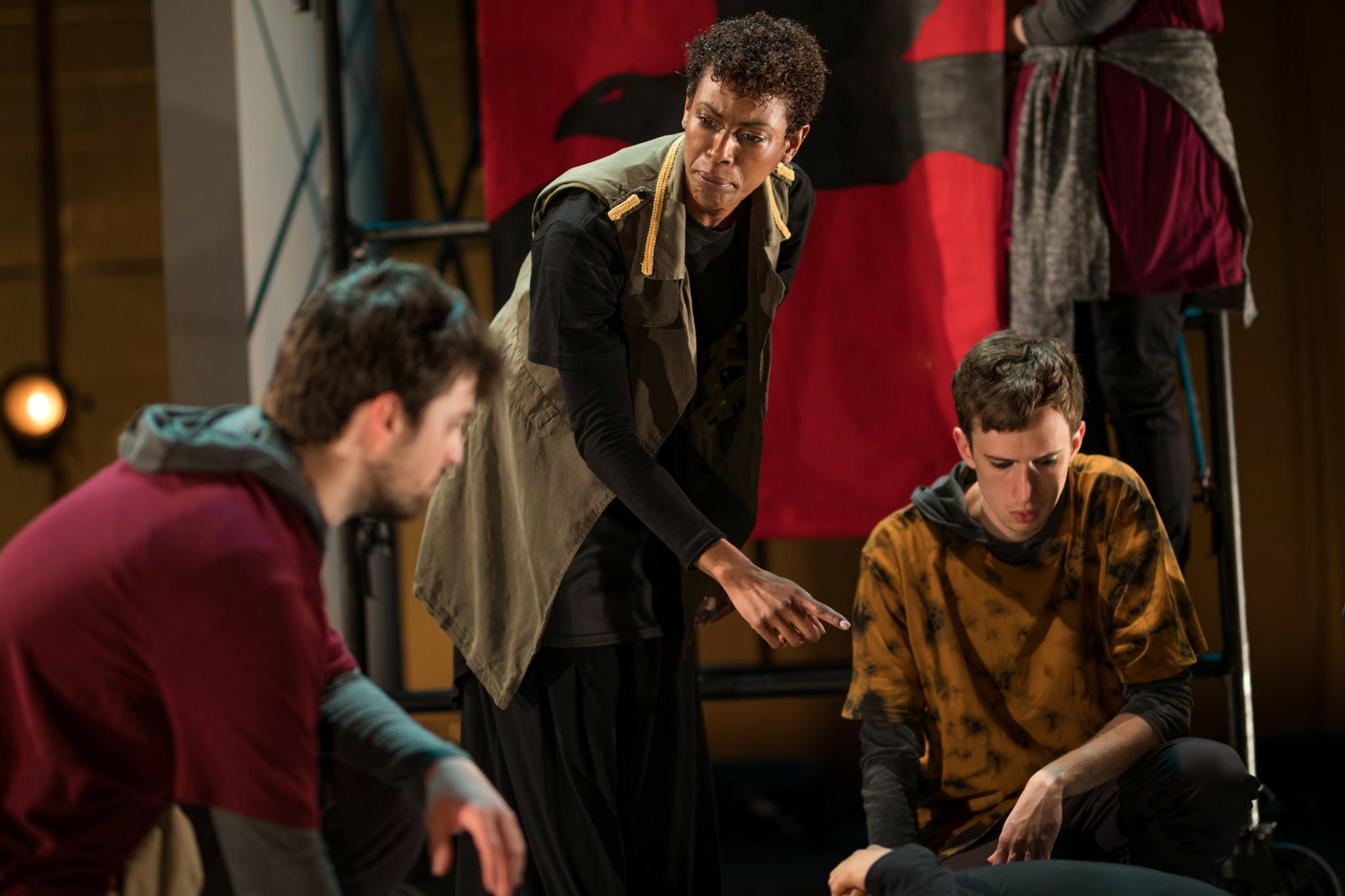 Alex Deroo (Metellus), Kaci Hamilton (Mark Antony), and Keith Hale (Caska) in Julius Caesar, CSC2, 2017-Photo by Nile Hawver
