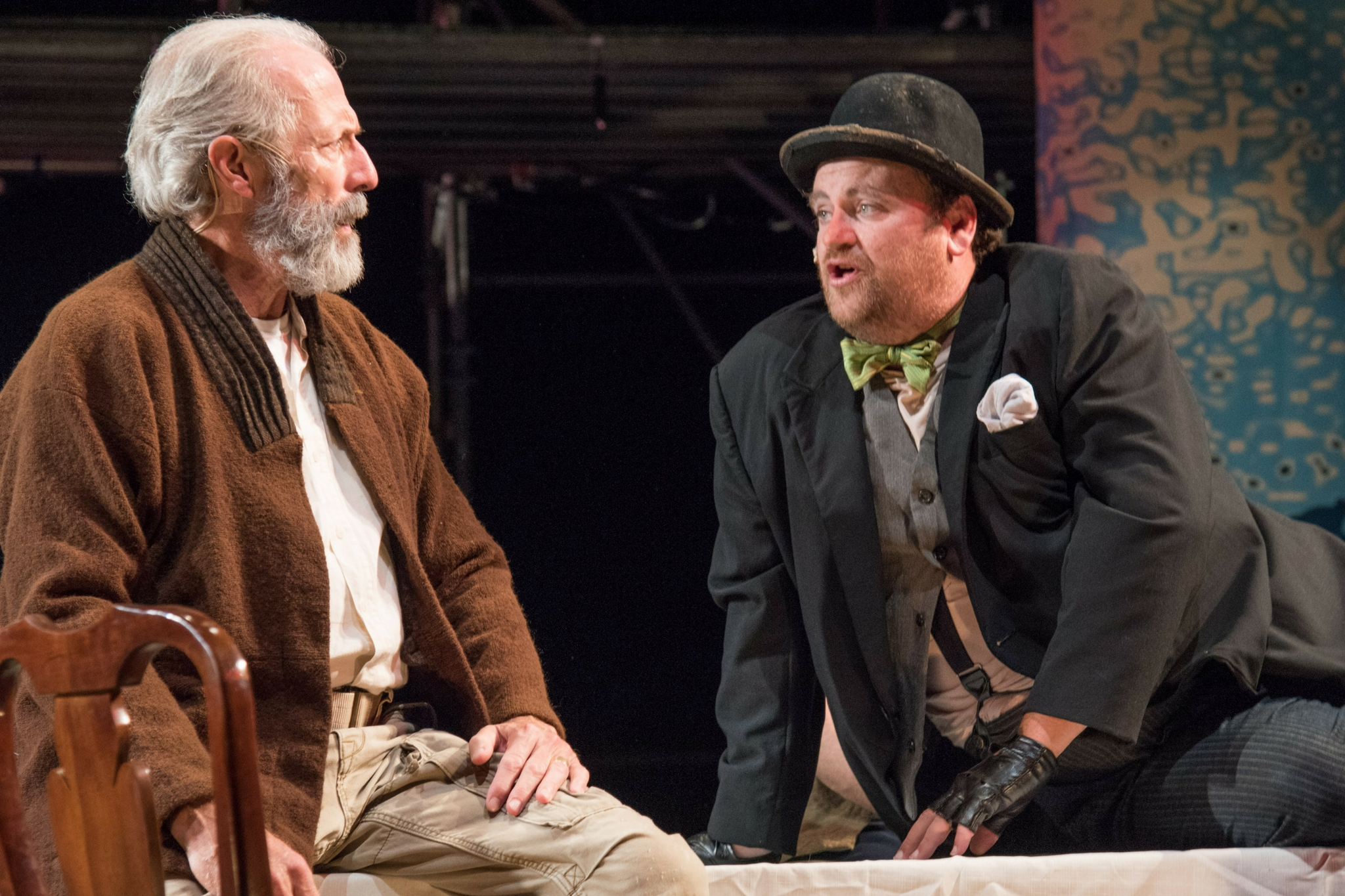 Will Lyman (King Lear) and Brandon Whitehead (Fool) in King Lear, Shakespeare on the Common 2015-Photo by Andrew Brilliant