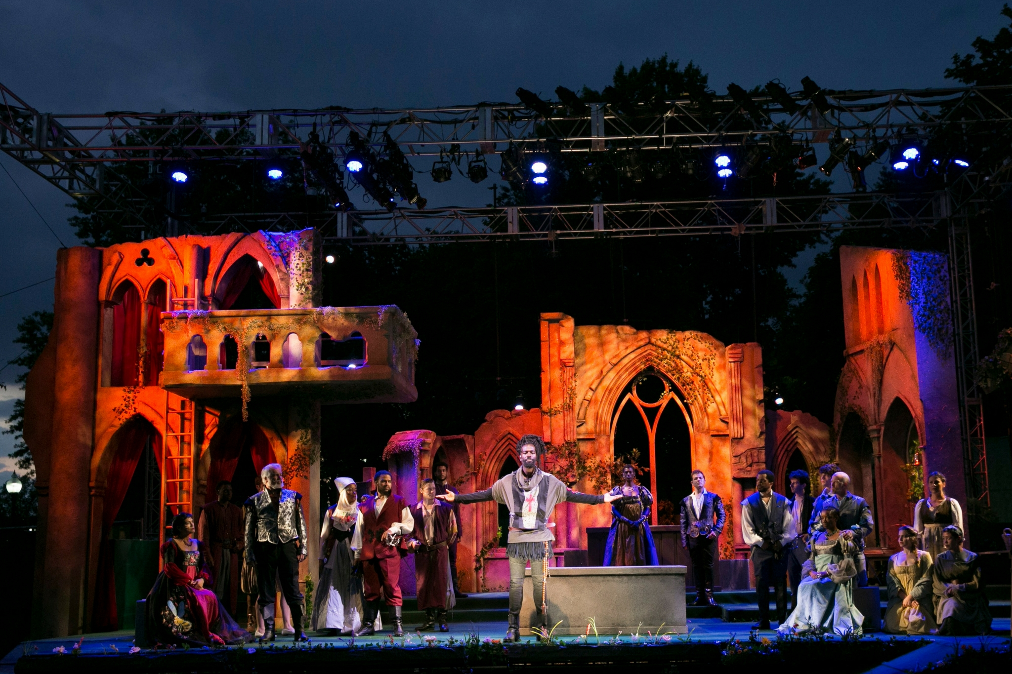 Stephanie King (far right, standing as Verona Citizen) and the cast of Romeo & Juliet, Shakespeare on the Common 2017-Photo by Evgenia Eliseeva