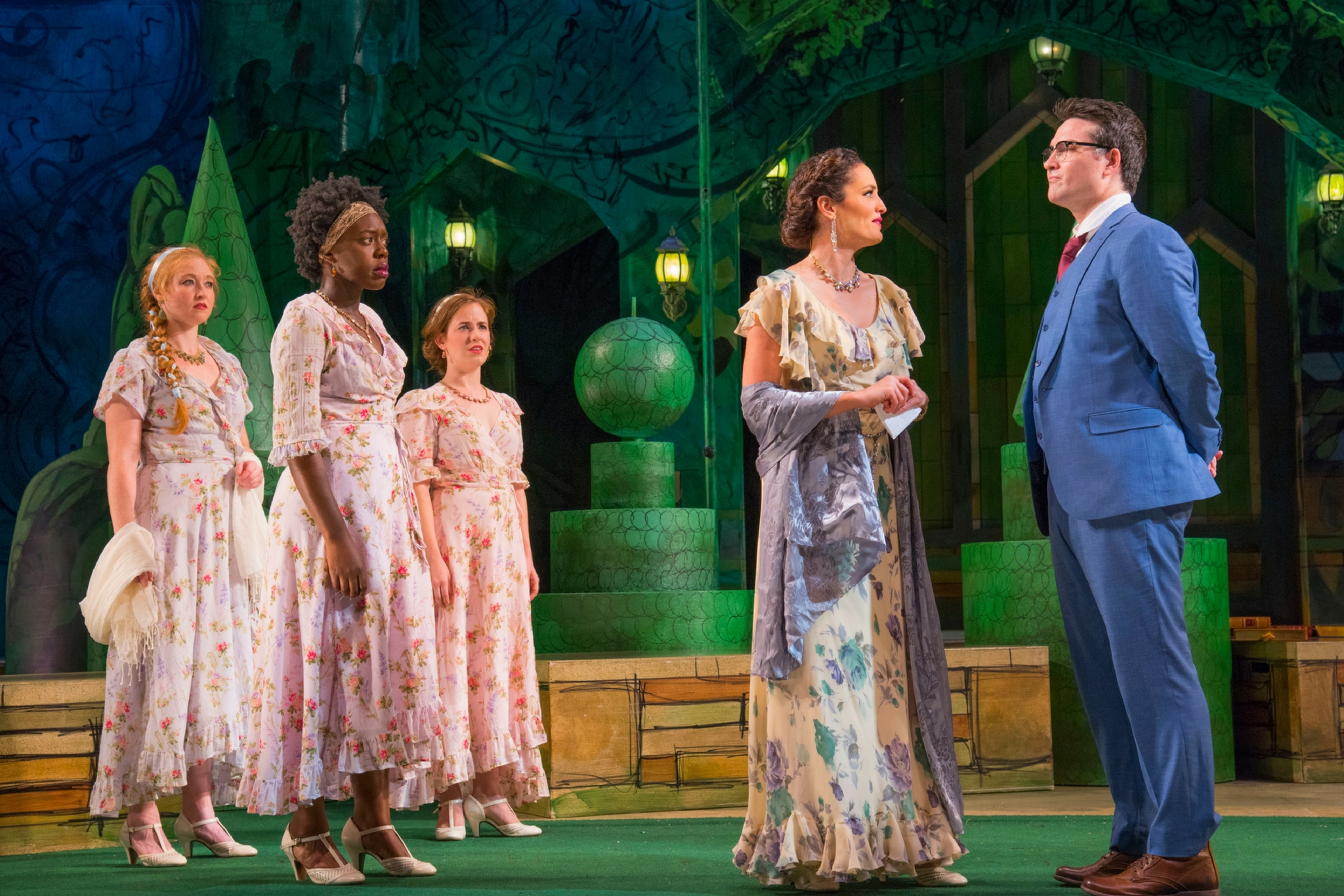 Jes Bedwinek (Maria), Obehi Janice (Rosaline), Margaret Clark (Katharine), Jennifer Ellis (Princess of France), and Justin Blanchard (King of Navarre) in Love's Labor's Lost, Shakespeare on the Common 2016-Photo by Andrew Brilliant