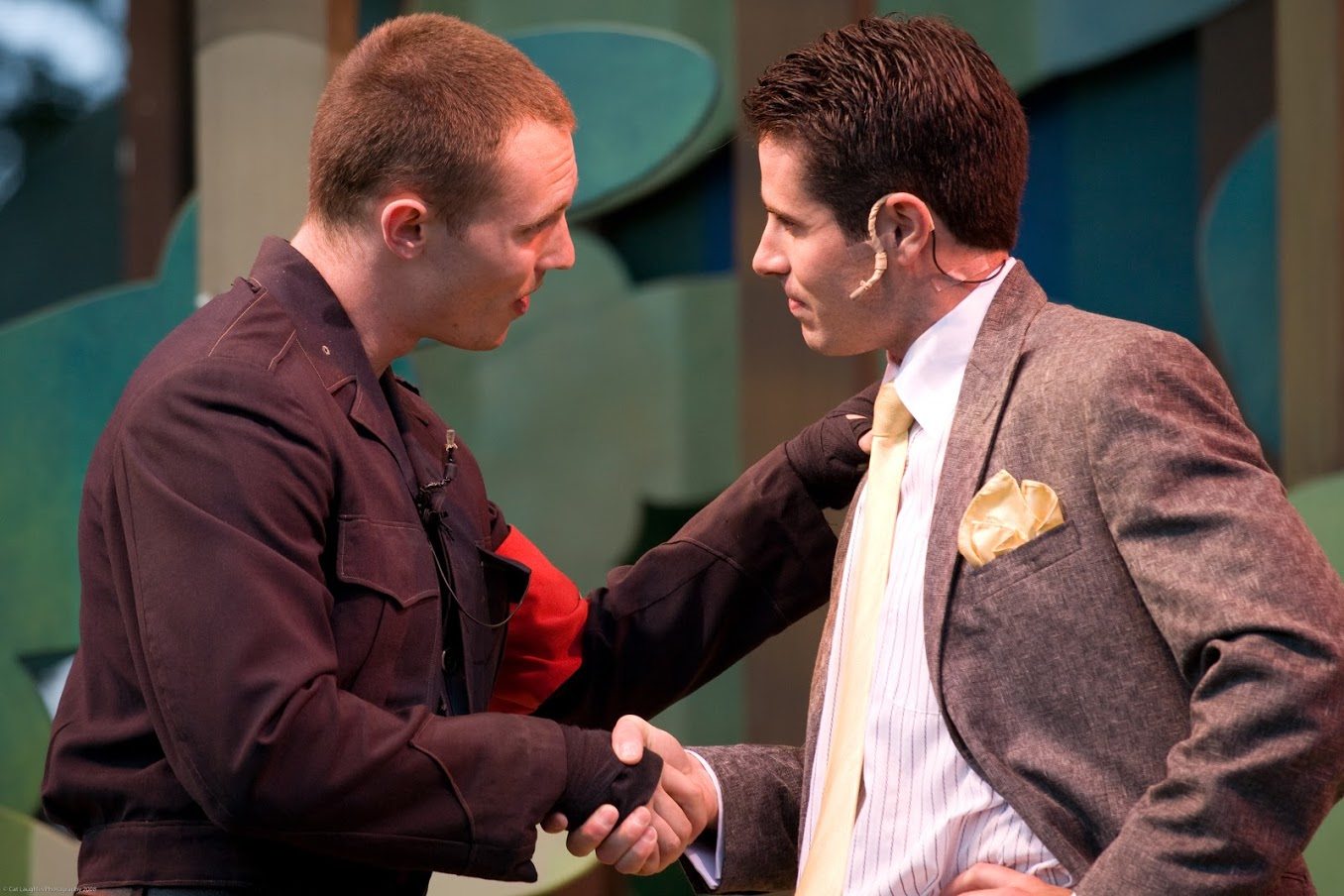 Kelby Akin (Charles) and Dan Roach (Oliver) in As You Like It, Shakespeare on the Common 2008-Photo by T. Charles Erickson