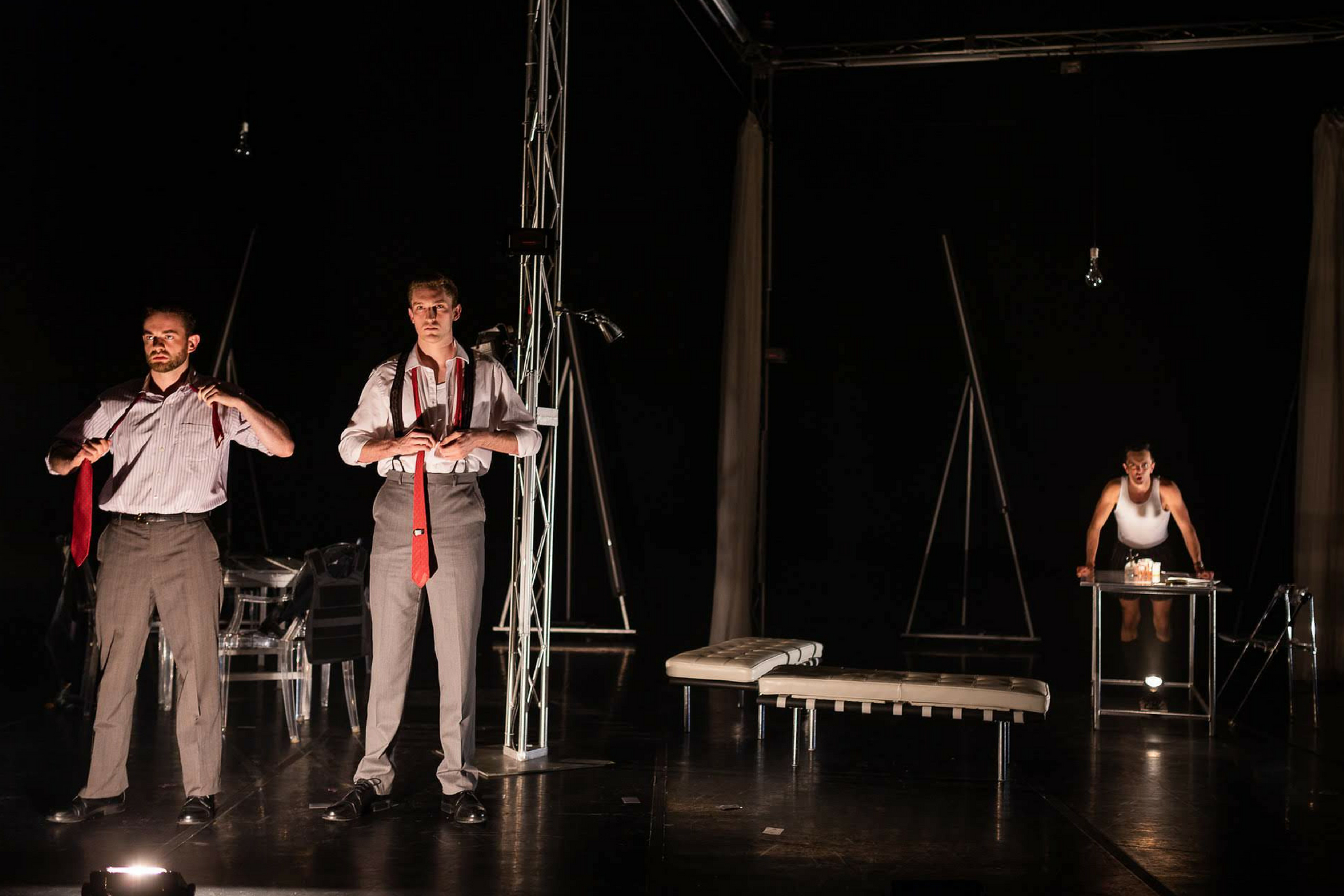 Kody Grasset (Lenox), Ross Barron (Ross), and Billy Saunders, Jr. (Macbeth) in Macbeth, CSC2, 2018-Photo by Nile Hawver