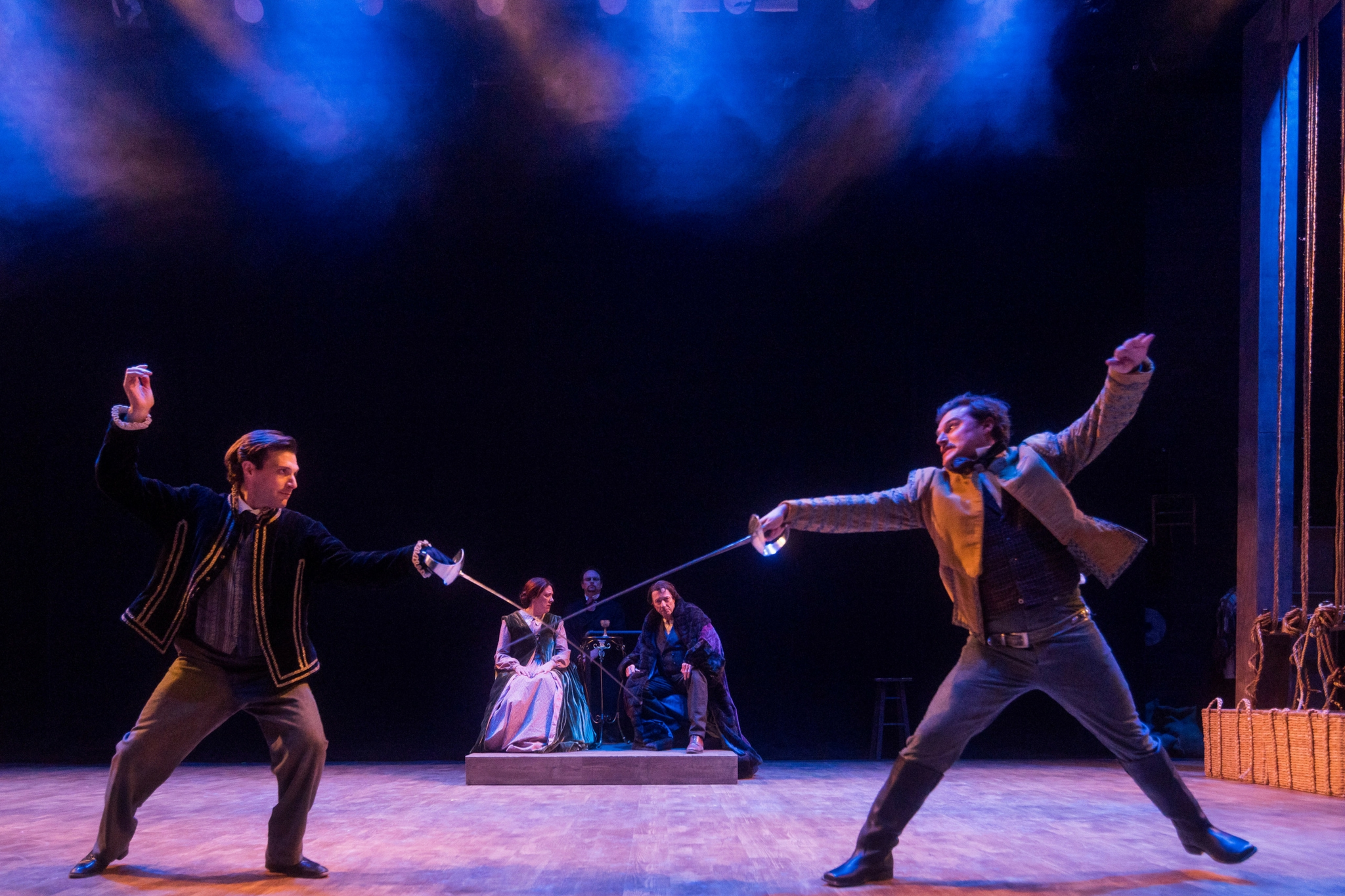 Jacob Fishel (Edwin Booth), Maureen Keiller (Mary Ann Holmes), Jake Broder (Adam Badeau), Will Lyman (Junius Brutus Booth), and Joe Fria (John Wilkes Booth) in Our American Hamlet, 2017-Photo by Nile Hawver