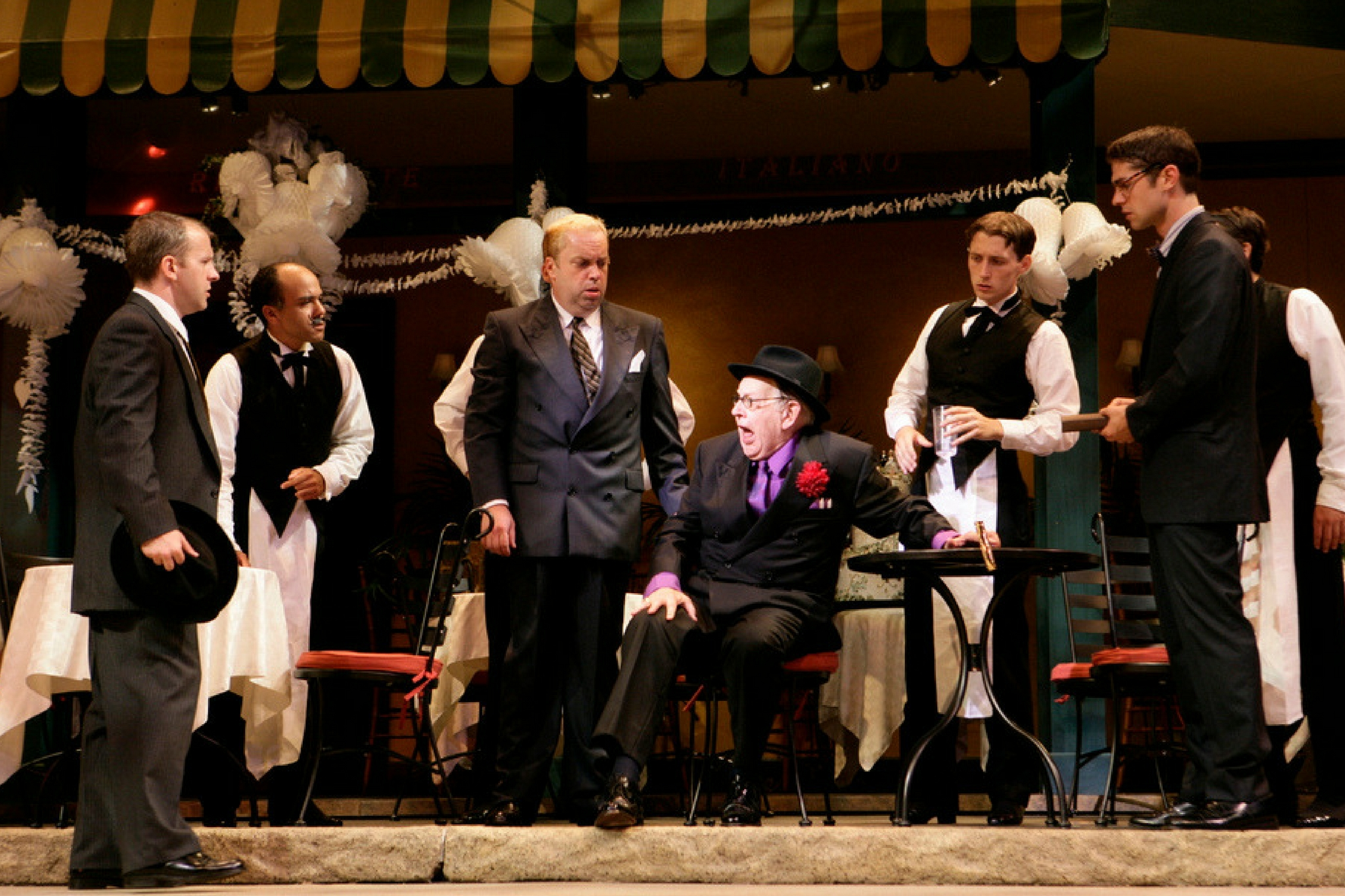 Larry Coen (center left as Biondello) in The Taming of the Shrew, Shakespeare on the Common 2006-Photo by T. Charles Erickson